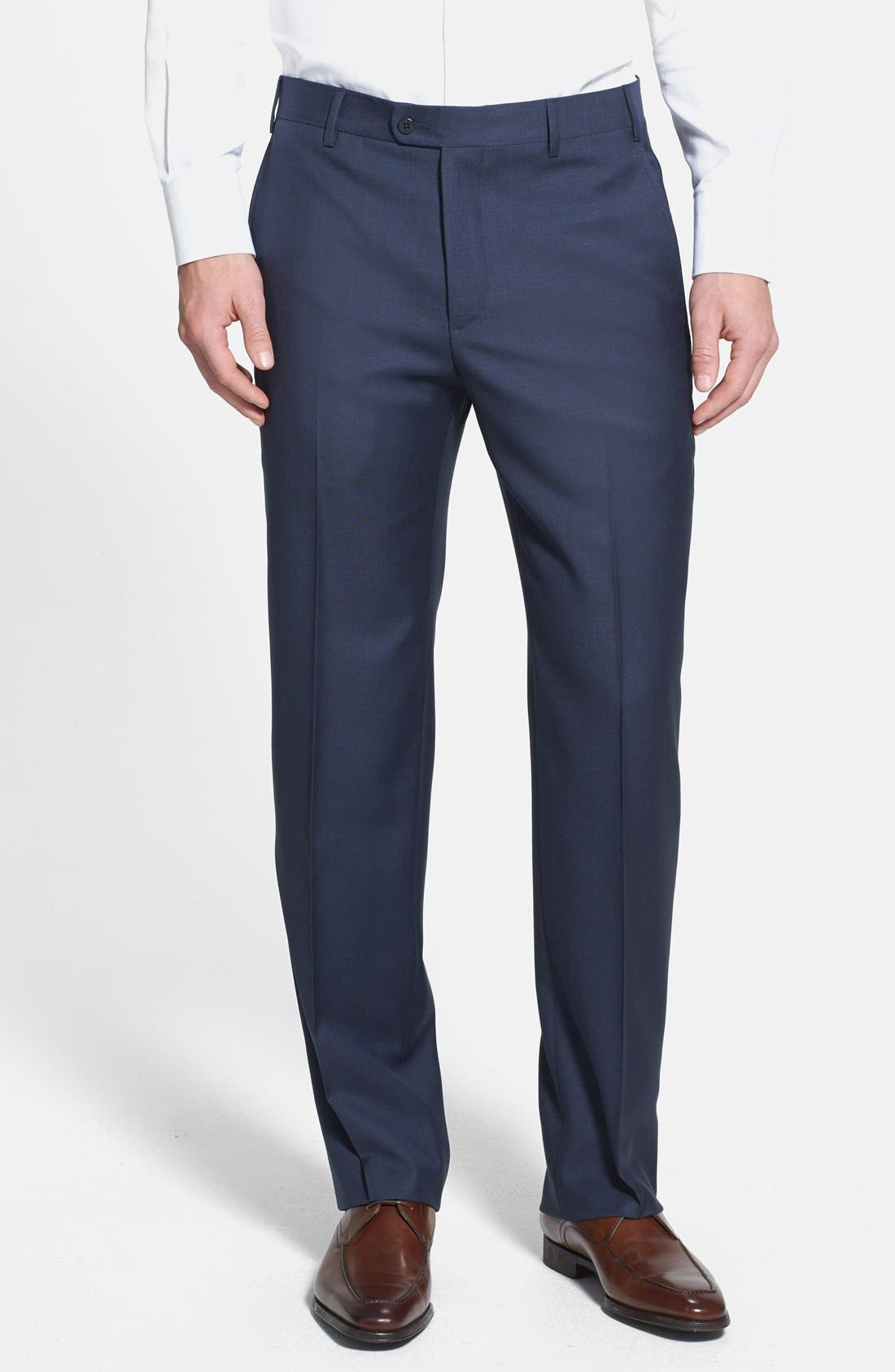 'Devon' Flat Front Wool Trousers,                             Main thumbnail 5, color,