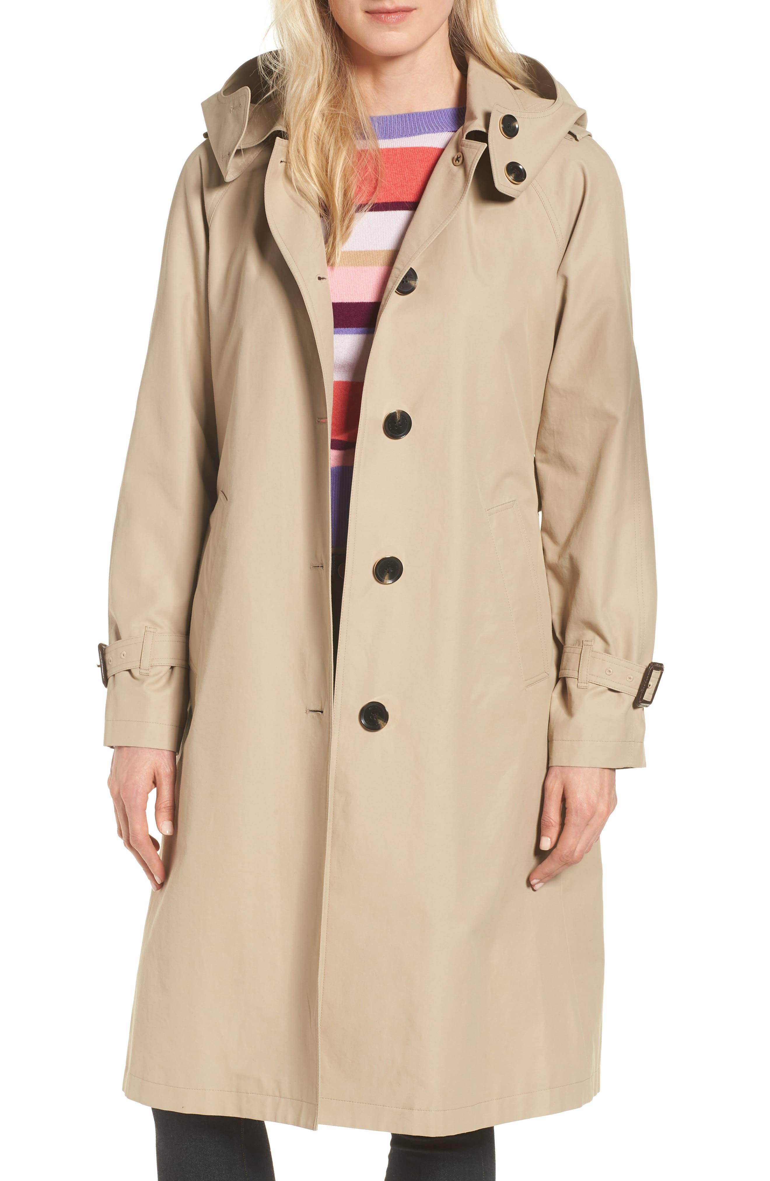 Hooded Trench Coat,                             Main thumbnail 1, color,                             KHAKI