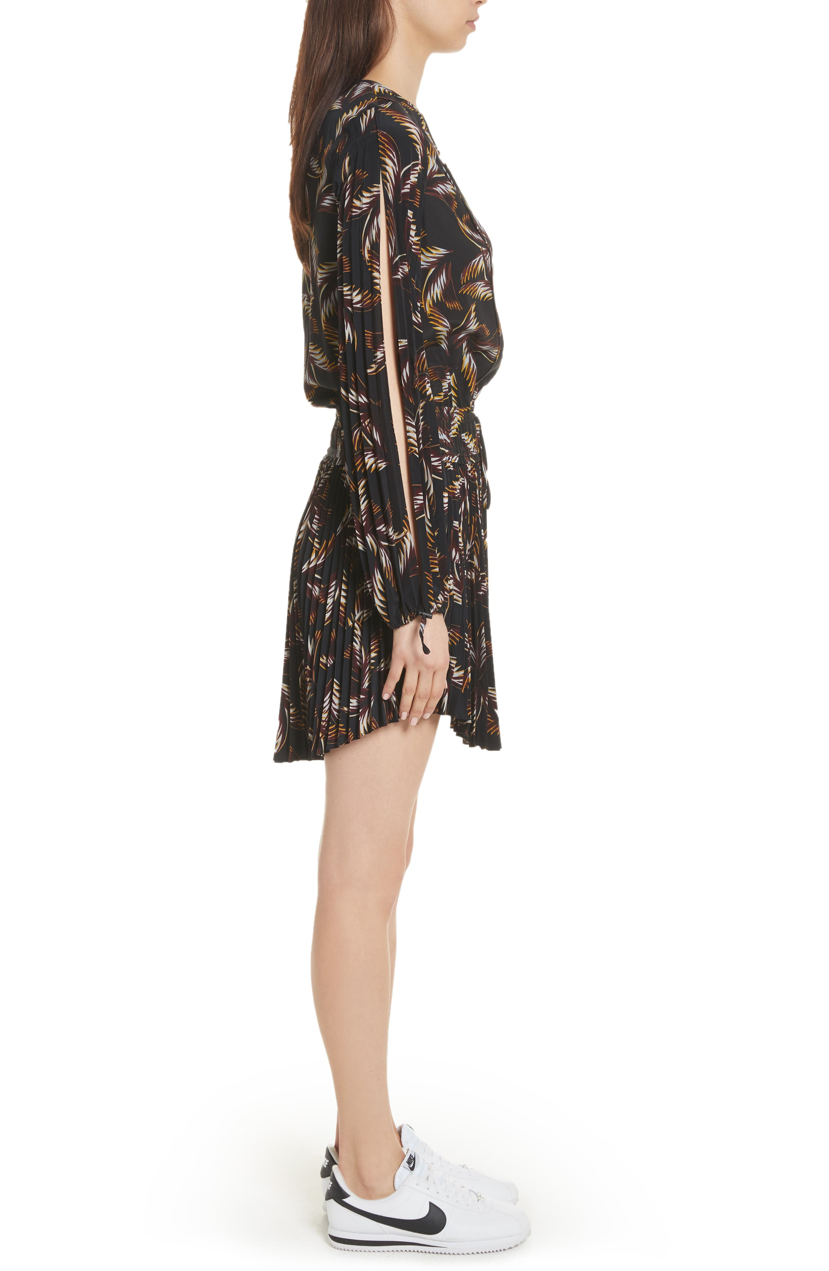 Rory Pleated Silk Dress,                             Alternate thumbnail 3, color,                             002