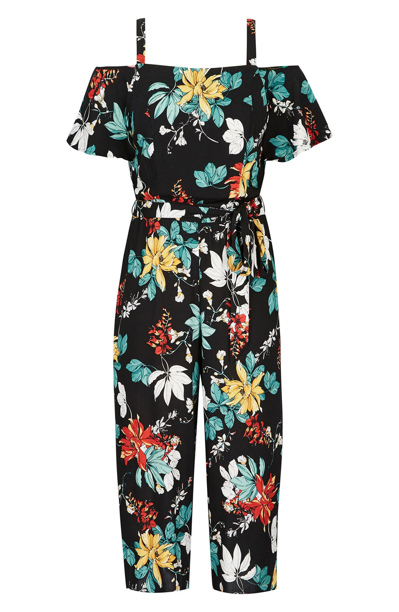 Tropical Print Cold Shoulder Jumpsuit,                             Alternate thumbnail 3, color,                             004