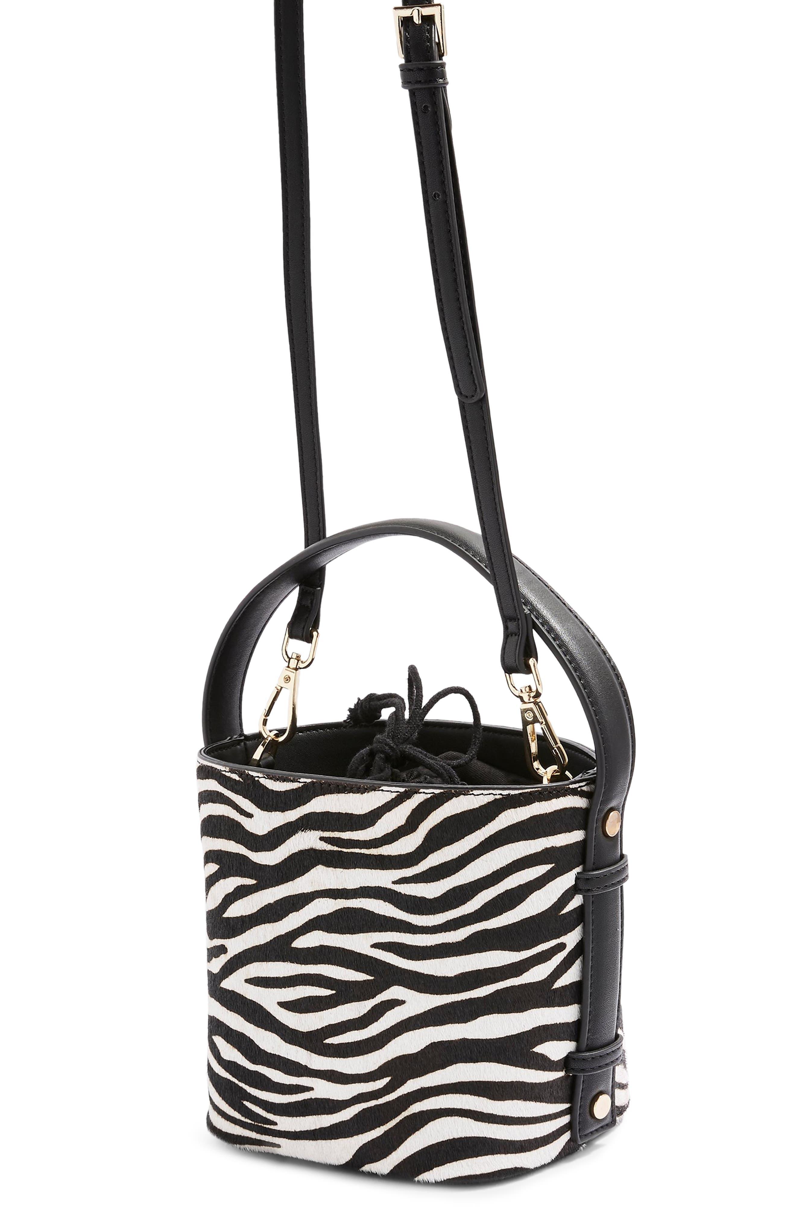 TOPSHOP,                             Samira Calf Hair Bucket Bag,                             Alternate thumbnail 3, color,                             002