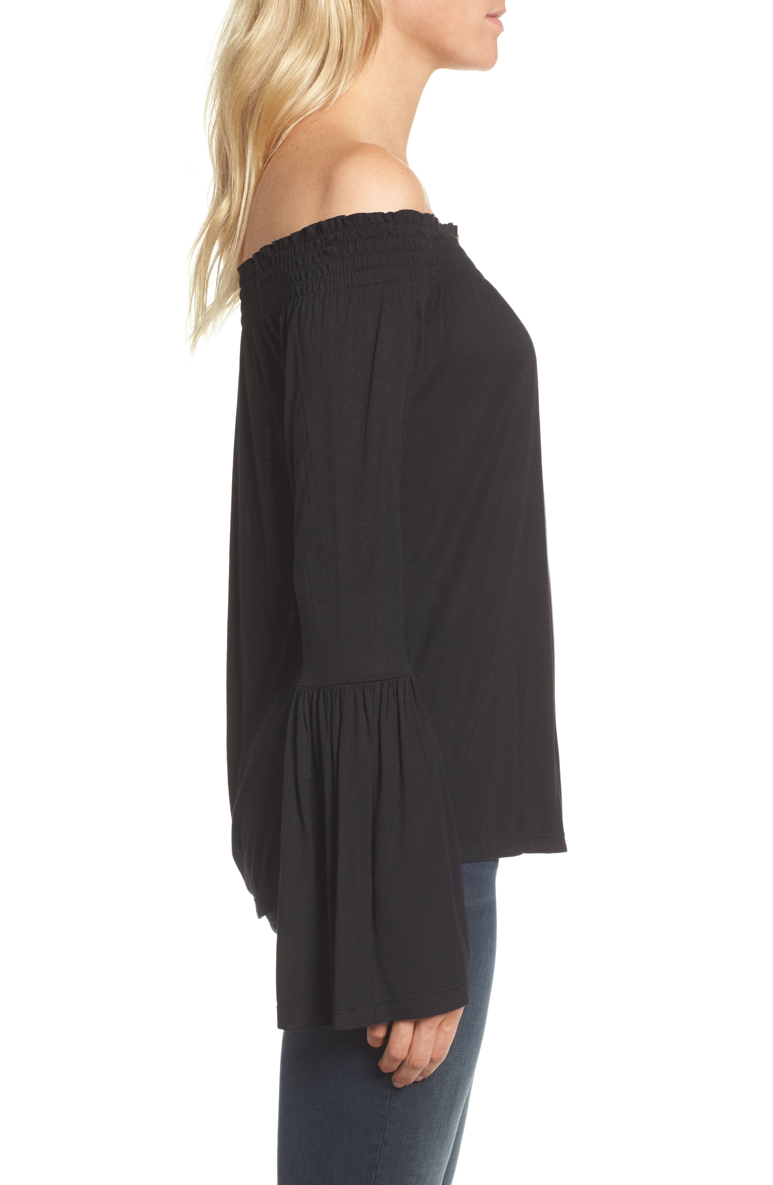 Luck Off the Shoulder Top,                             Alternate thumbnail 3, color,
