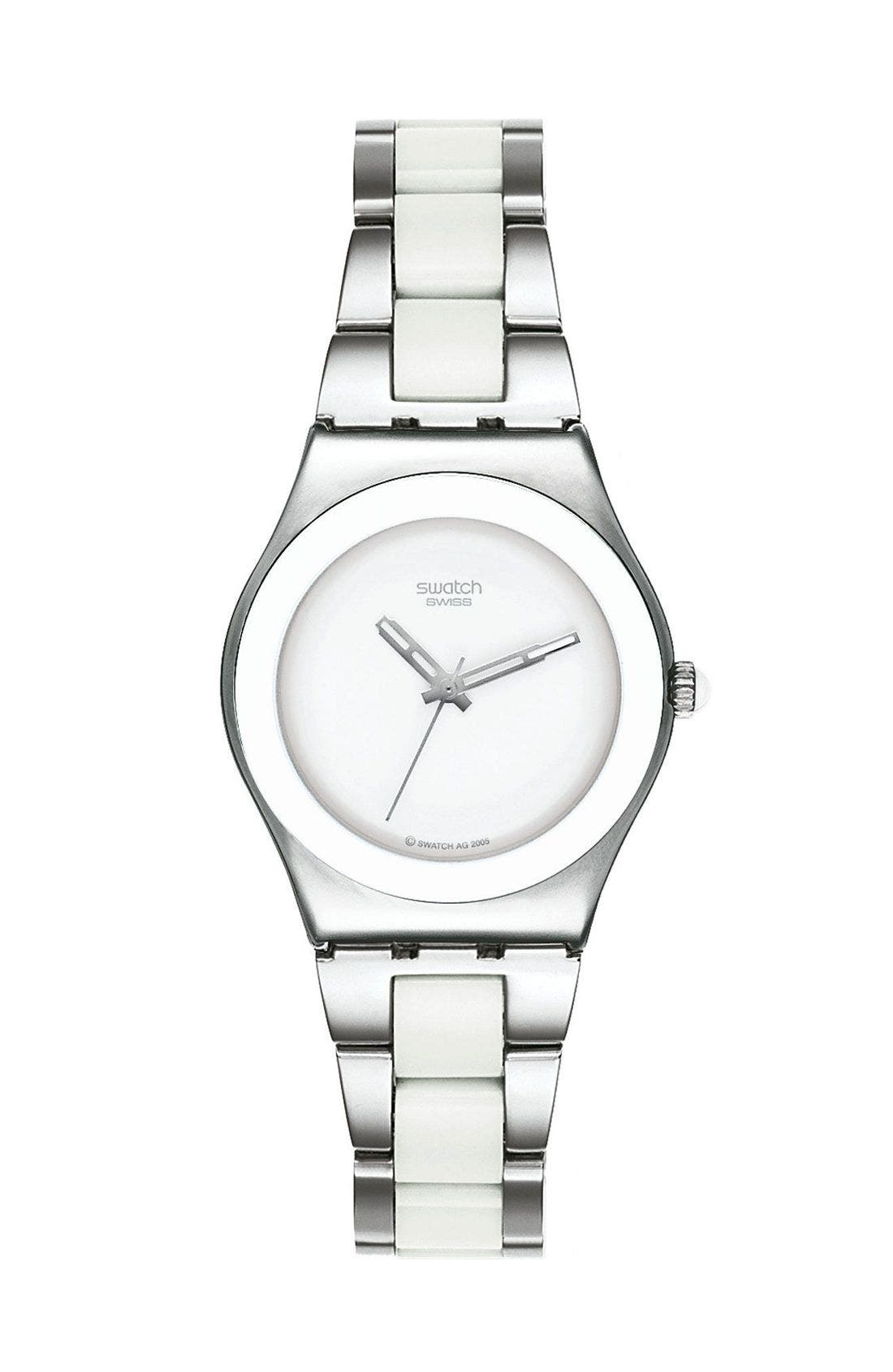 SWATCH<SUP>®</SUP> White Ceramic Watch, Main, color, 100