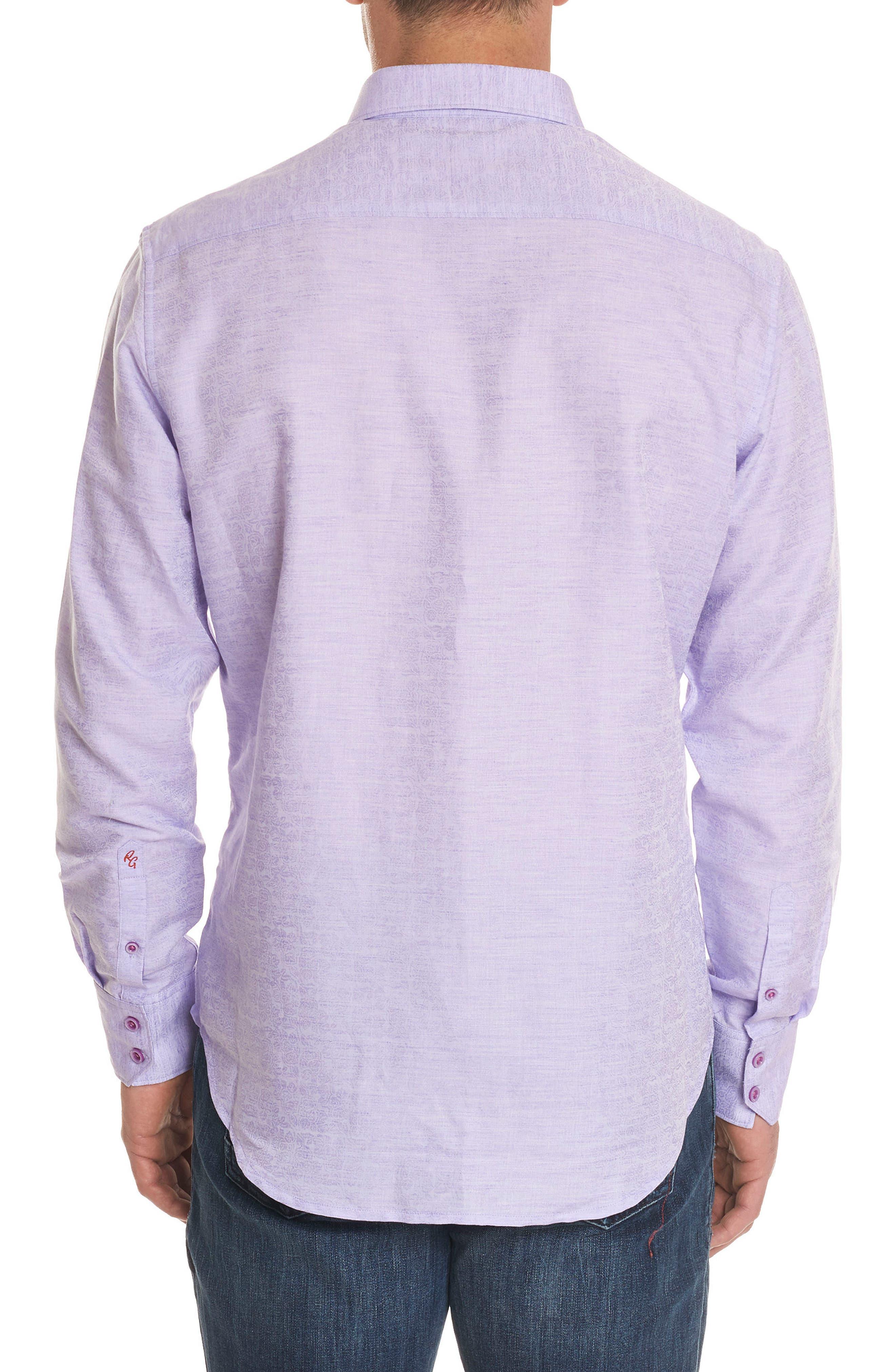 Cyprus Classic Fit Linen & Cotton Sport Shirt,                             Alternate thumbnail 2, color,                             PURPLE