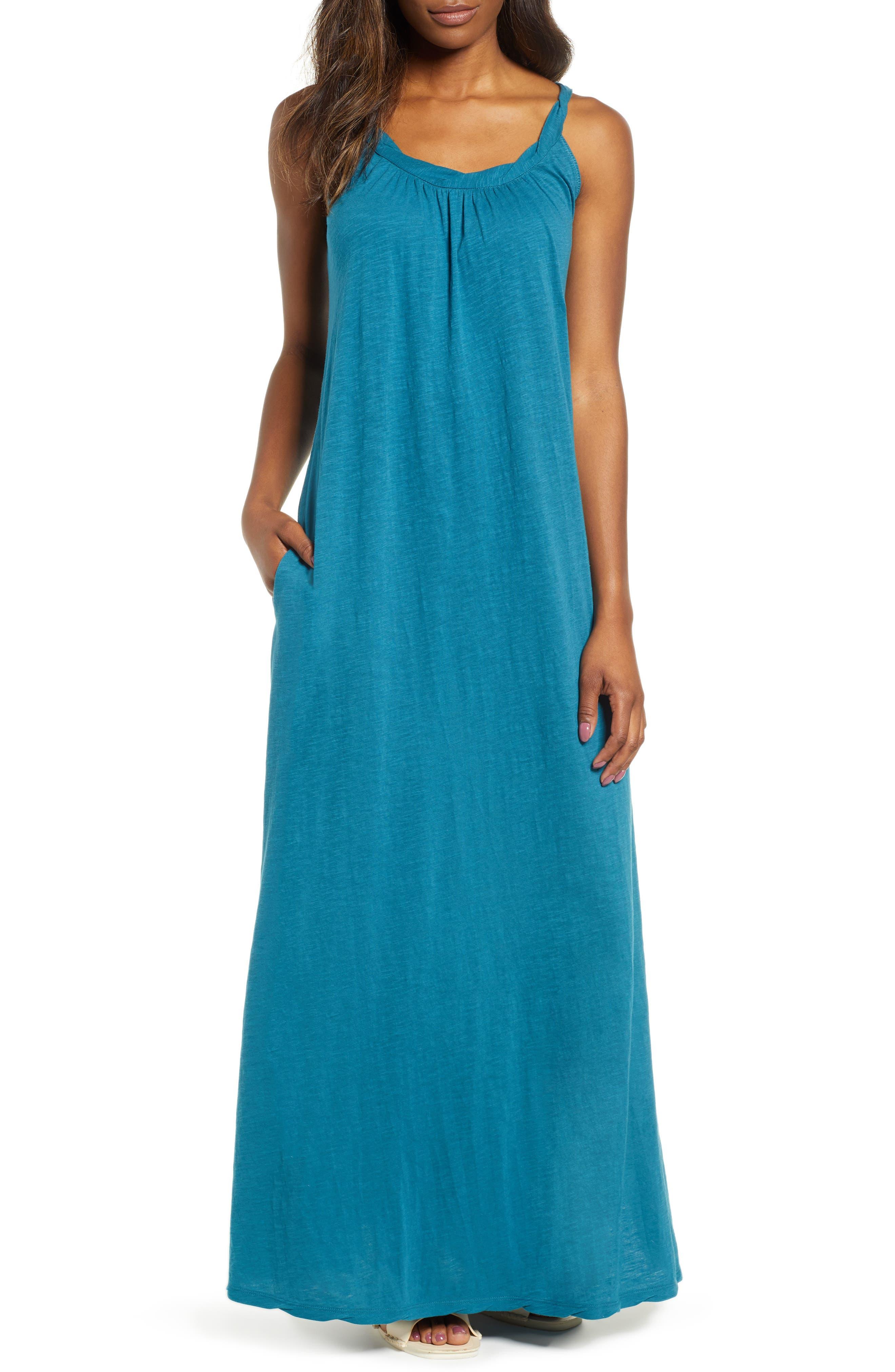Caslon Twist Neck Maxi Dress, Blue/green
