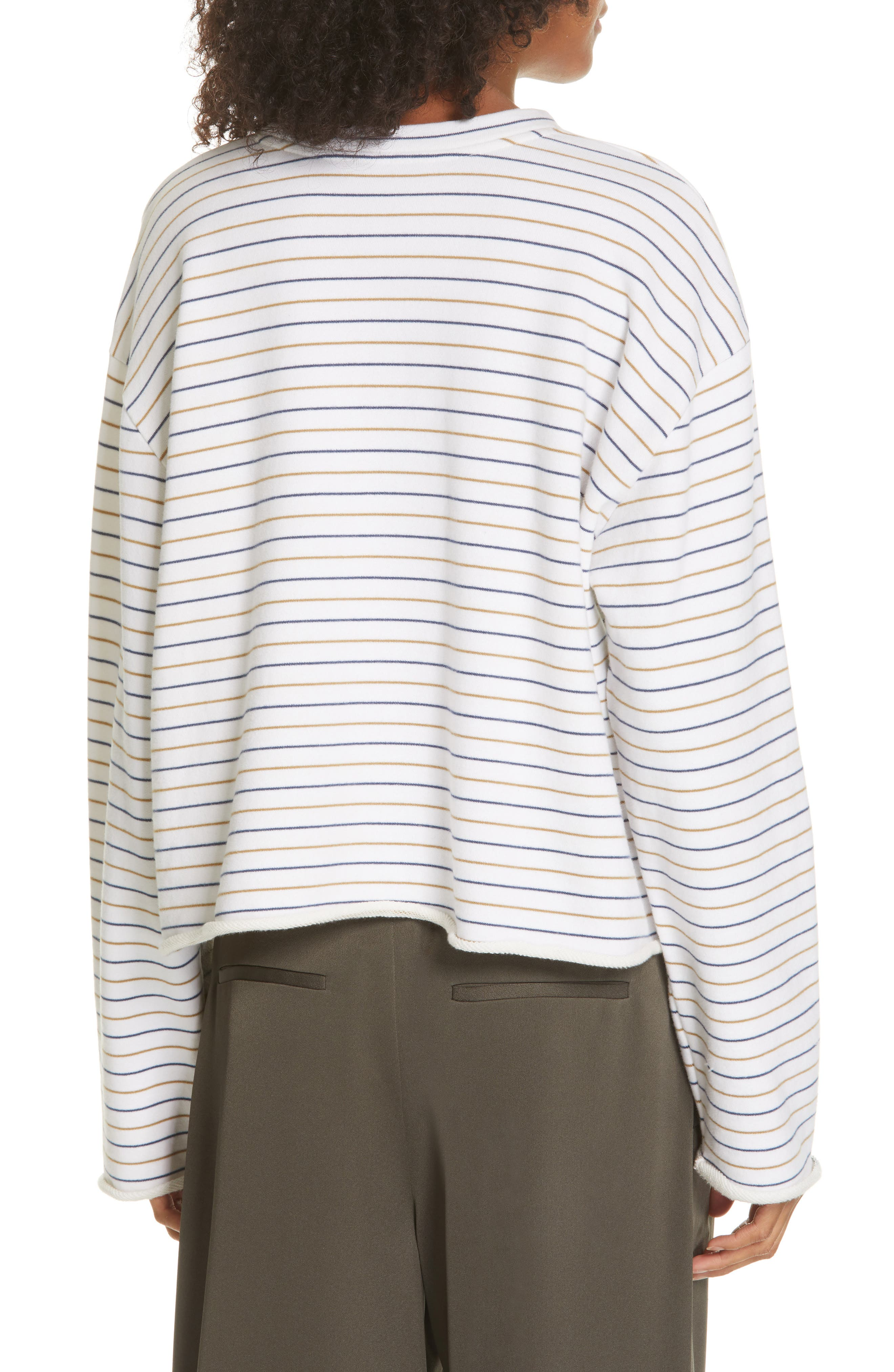 Crop Striped Sweater,                             Alternate thumbnail 2, color,                             OFF WHITE/ NAVY/ BROWN
