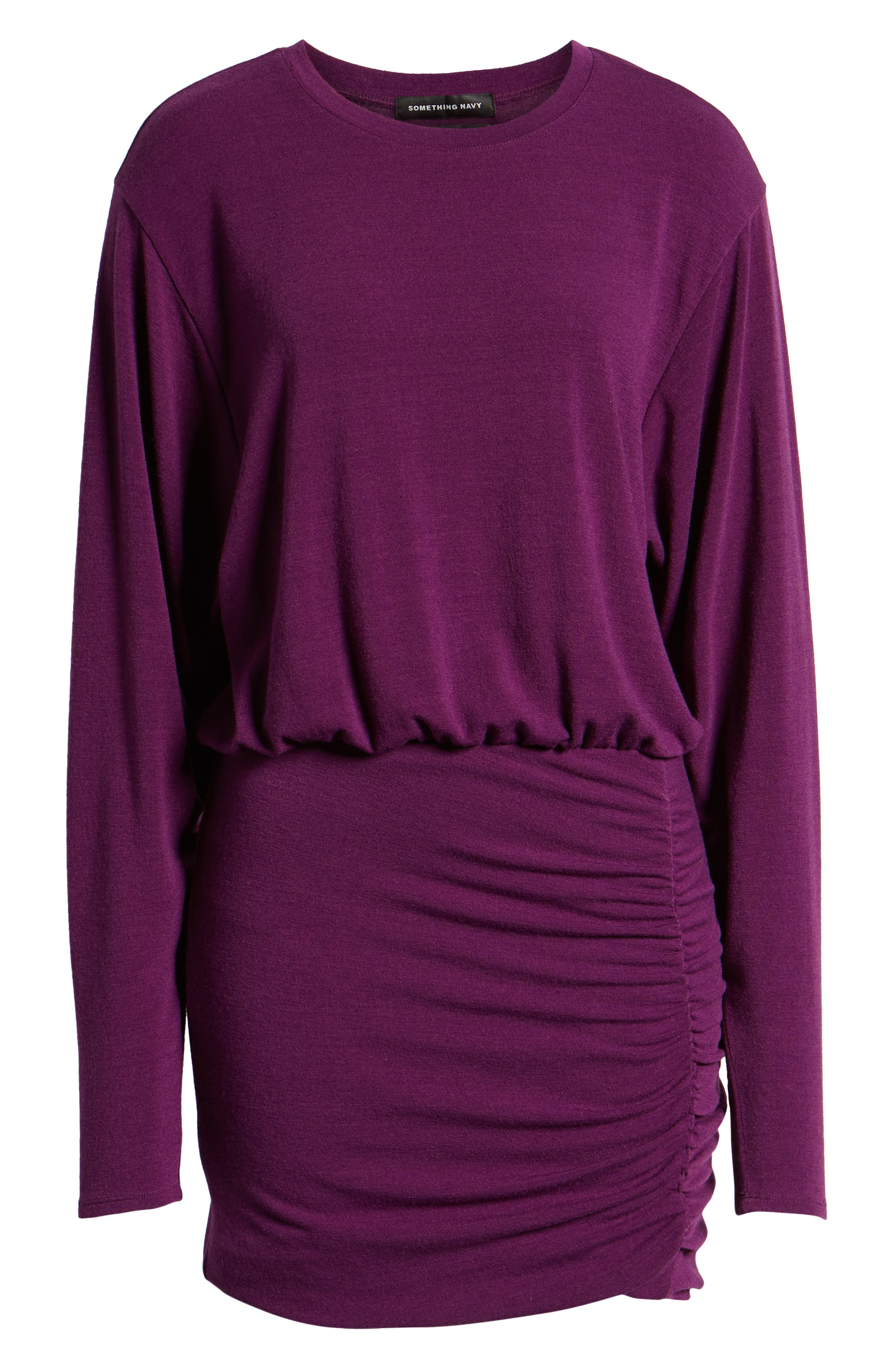 Ruched Detail Dress,                             Alternate thumbnail 7, color,                             PURPLE IMPERIAL