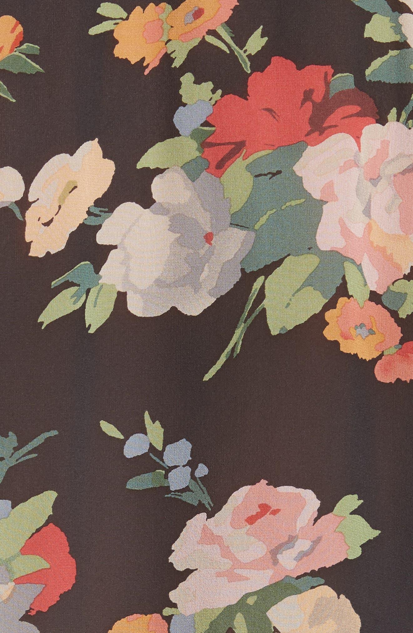 Acadia Print Silk Blouse,                             Alternate thumbnail 5, color,                             FLORAL PRINT