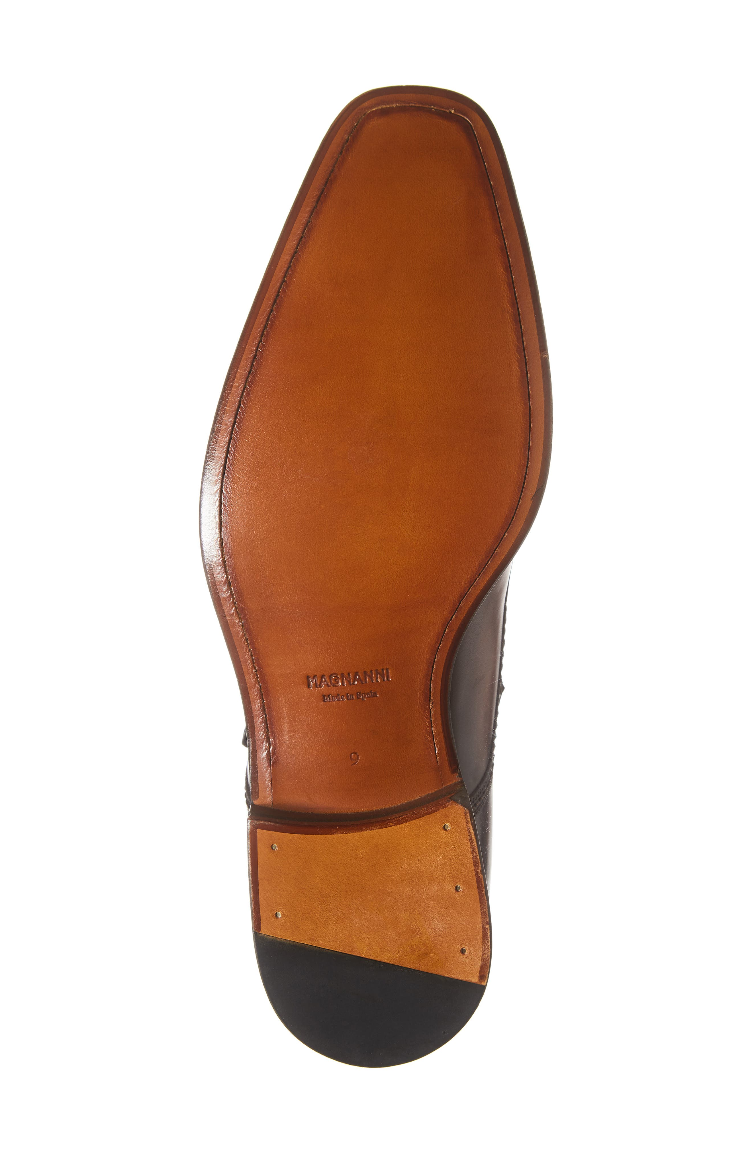 MAGNANNI,                             Luka Monk Strap Boot,                             Alternate thumbnail 6, color,                             MID BROWN LEATHER