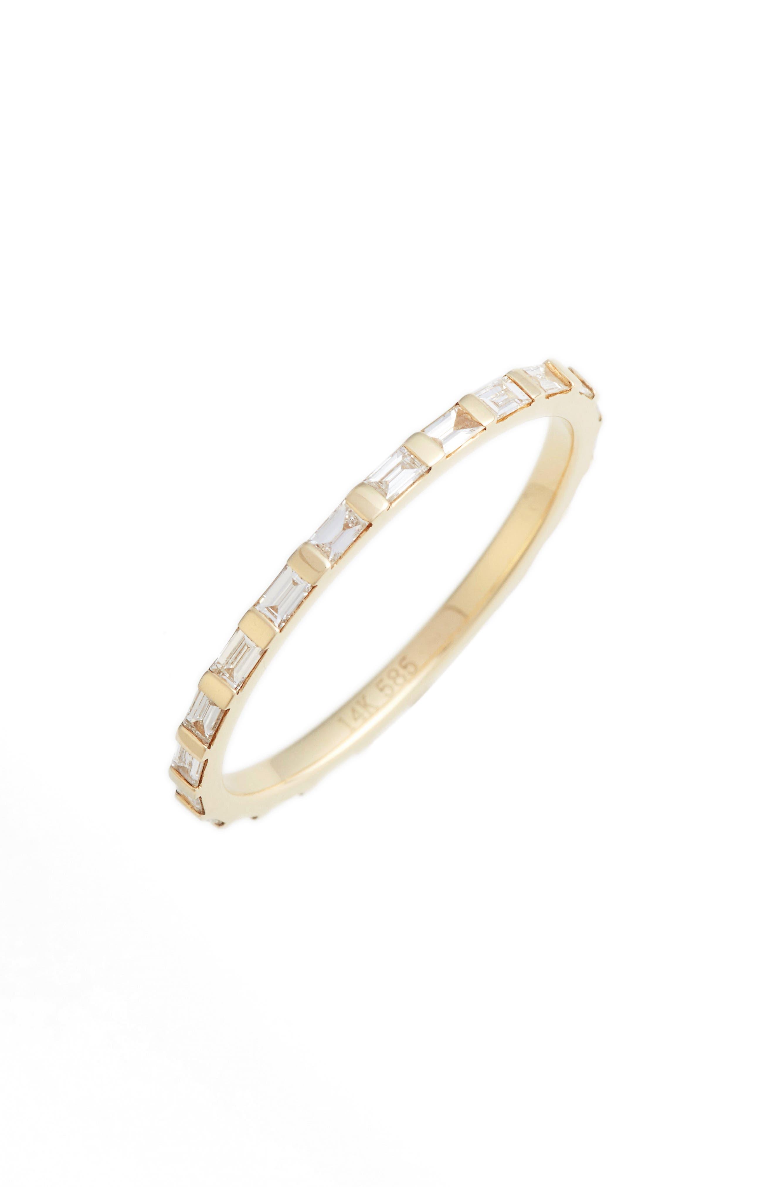Baguette Diamond Band,                             Main thumbnail 1, color,                             YELLOW GOLD
