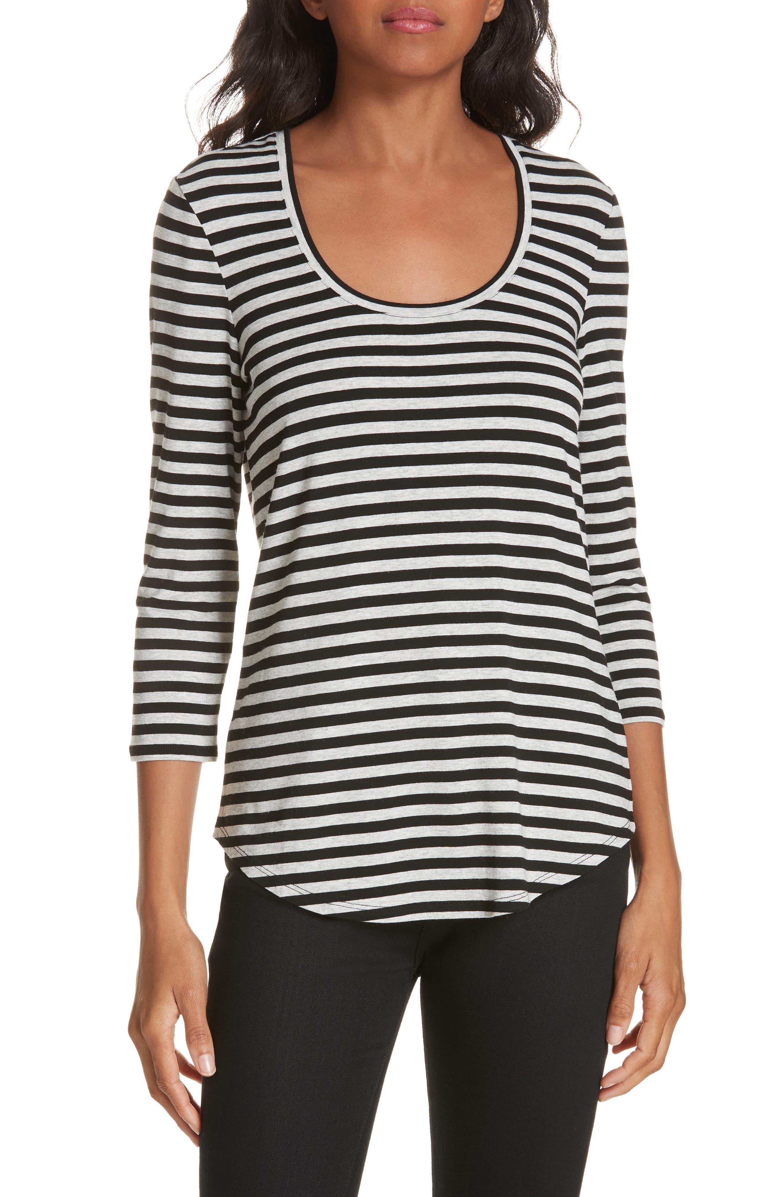 Stripe Top,                         Main,                         color, HEATHER GREY- BLACK STRIPE