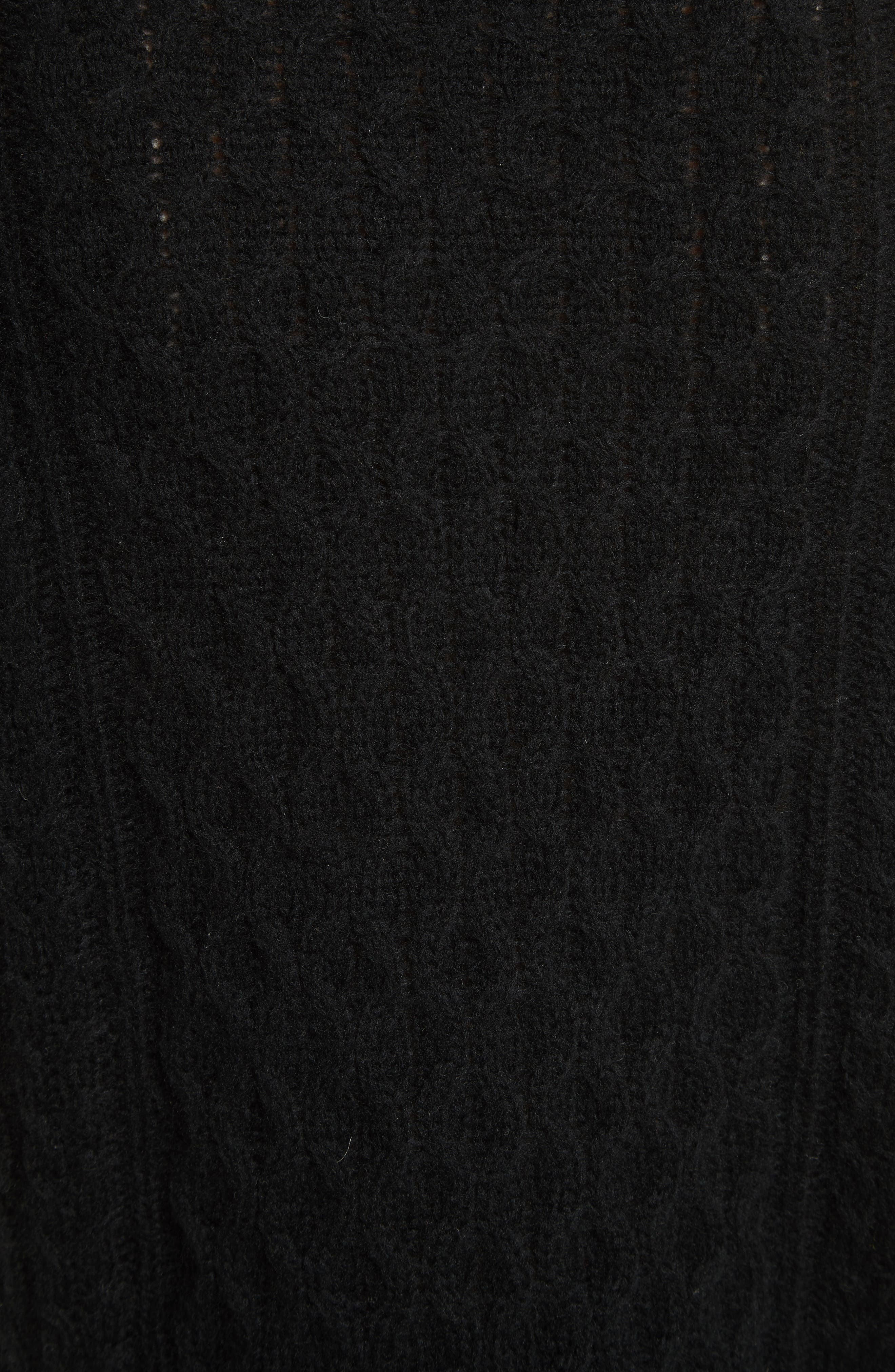 Cold Shoulder Cable Knit Sweater,                             Alternate thumbnail 5, color,                             001