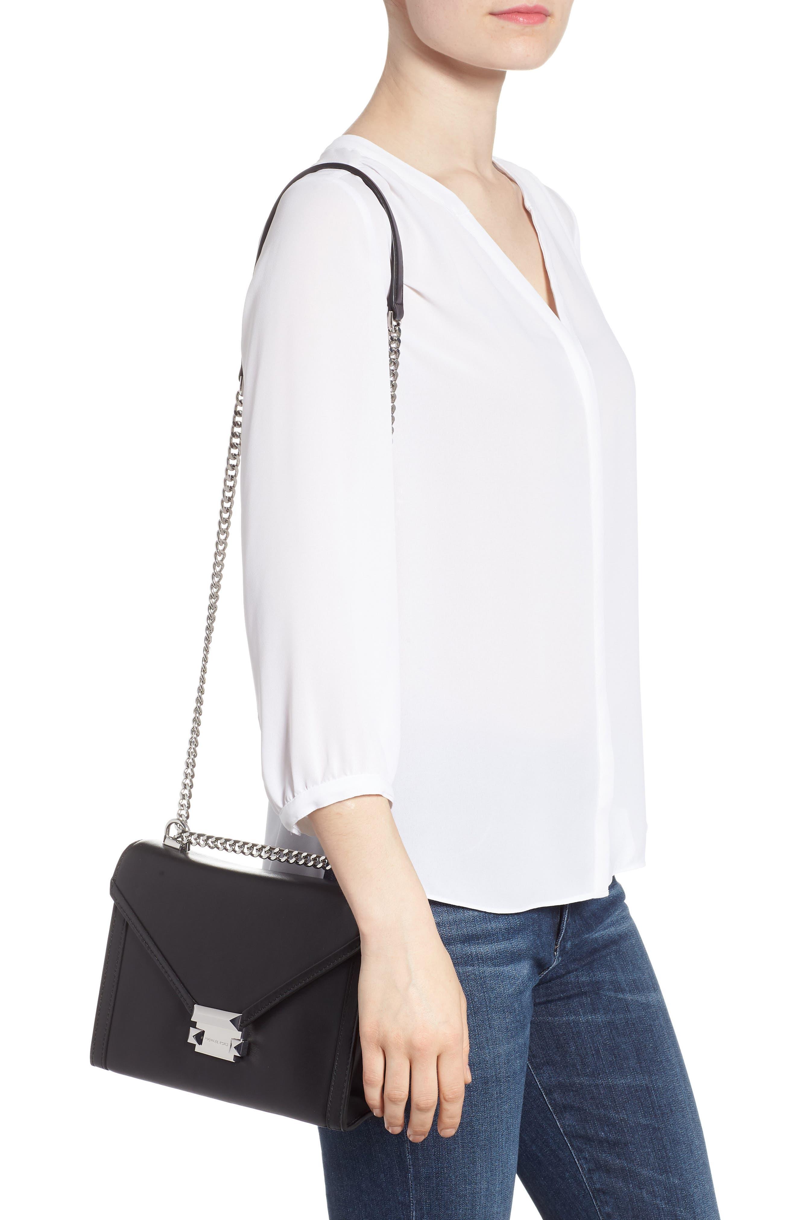 Large Whitney Leather Shoulder Bag,                             Alternate thumbnail 2, color,                             BLACK