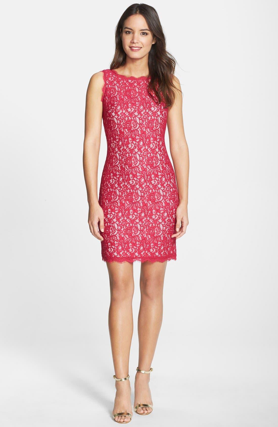 Boatneck Lace Sheath Dress,                             Alternate thumbnail 60, color,