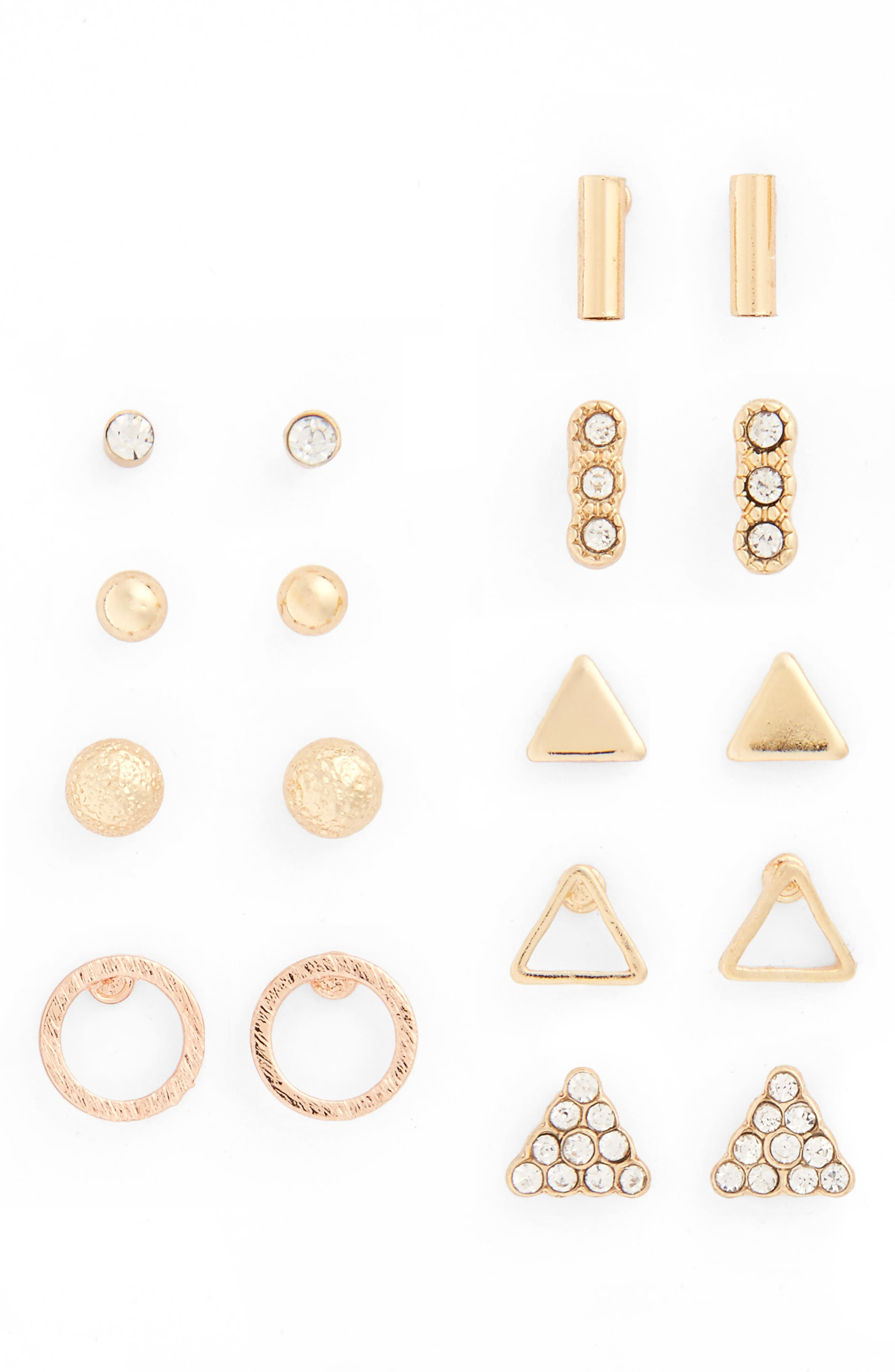 9-Pack Geo Stud Earrings,                             Main thumbnail 1, color,                             710