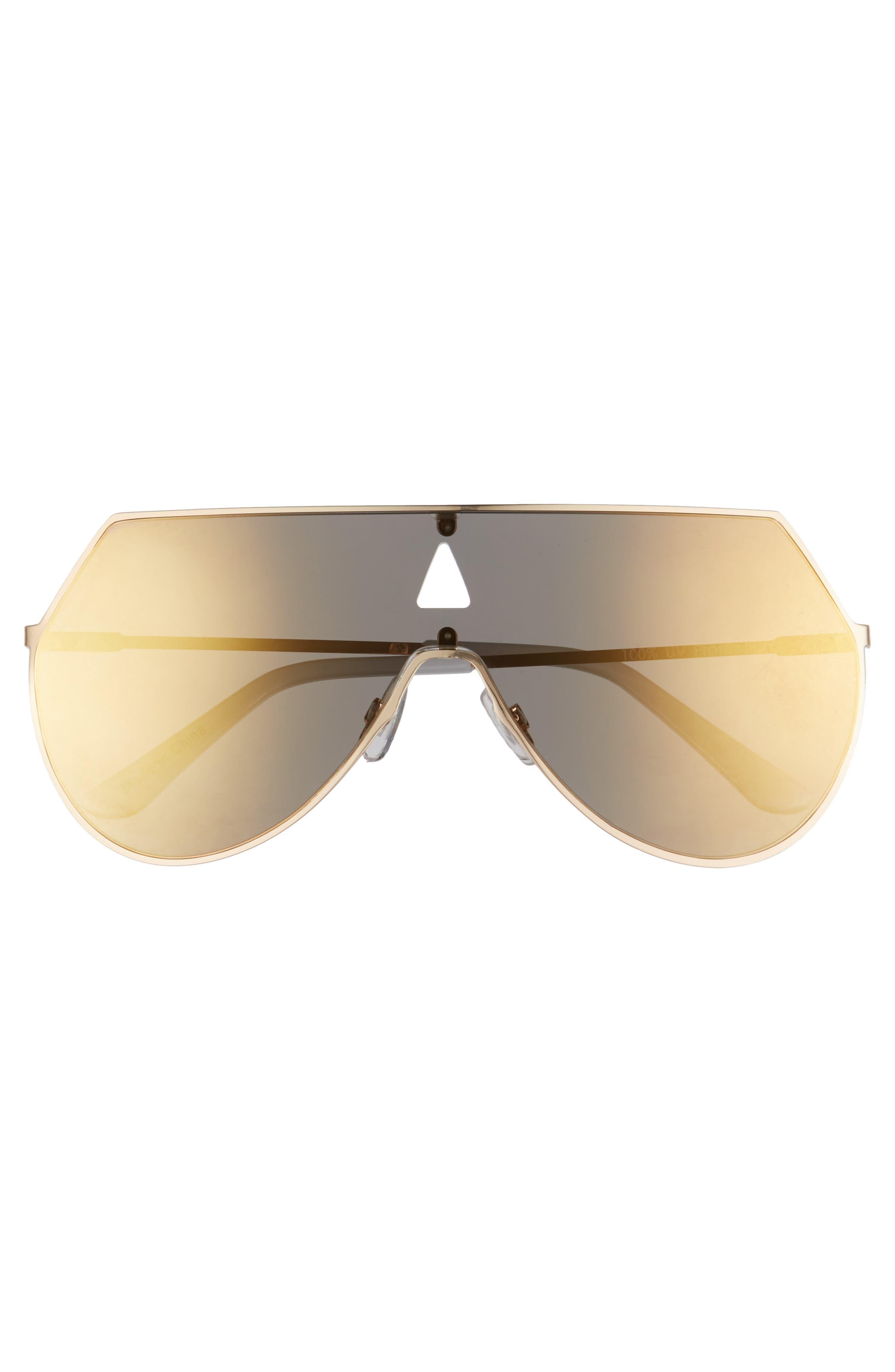 60mm Flat Lens Aviator Sunglasses,                             Alternate thumbnail 3, color,