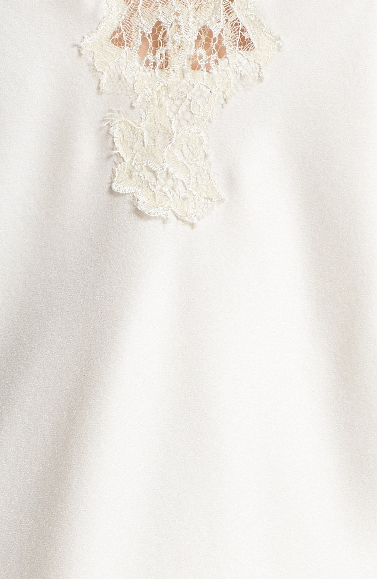Lace Trim Short Silk Pajamas,                             Alternate thumbnail 5, color,                             100