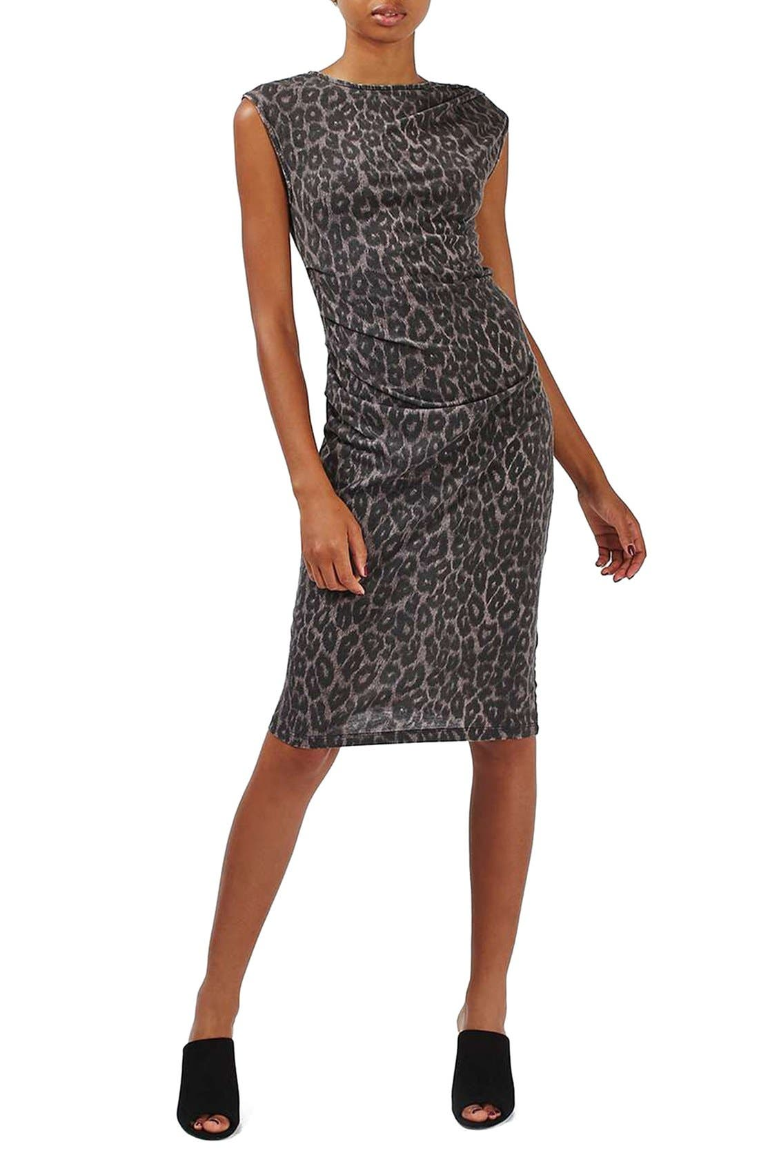 Leopard Print Midi Dress, Main, color, 001