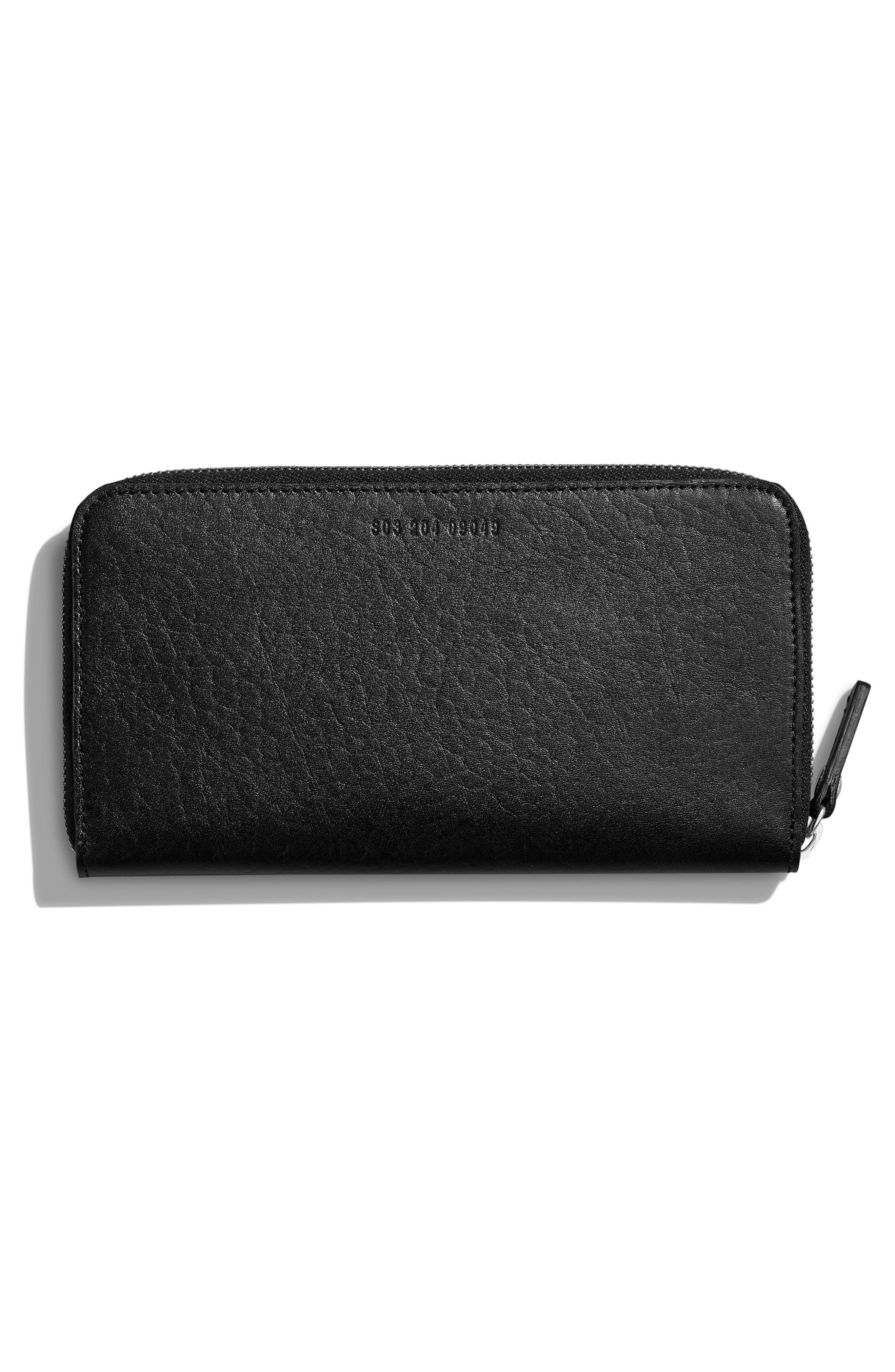 Signature Lea Leather Continental Wallet,                             Alternate thumbnail 3, color,                             BLACK
