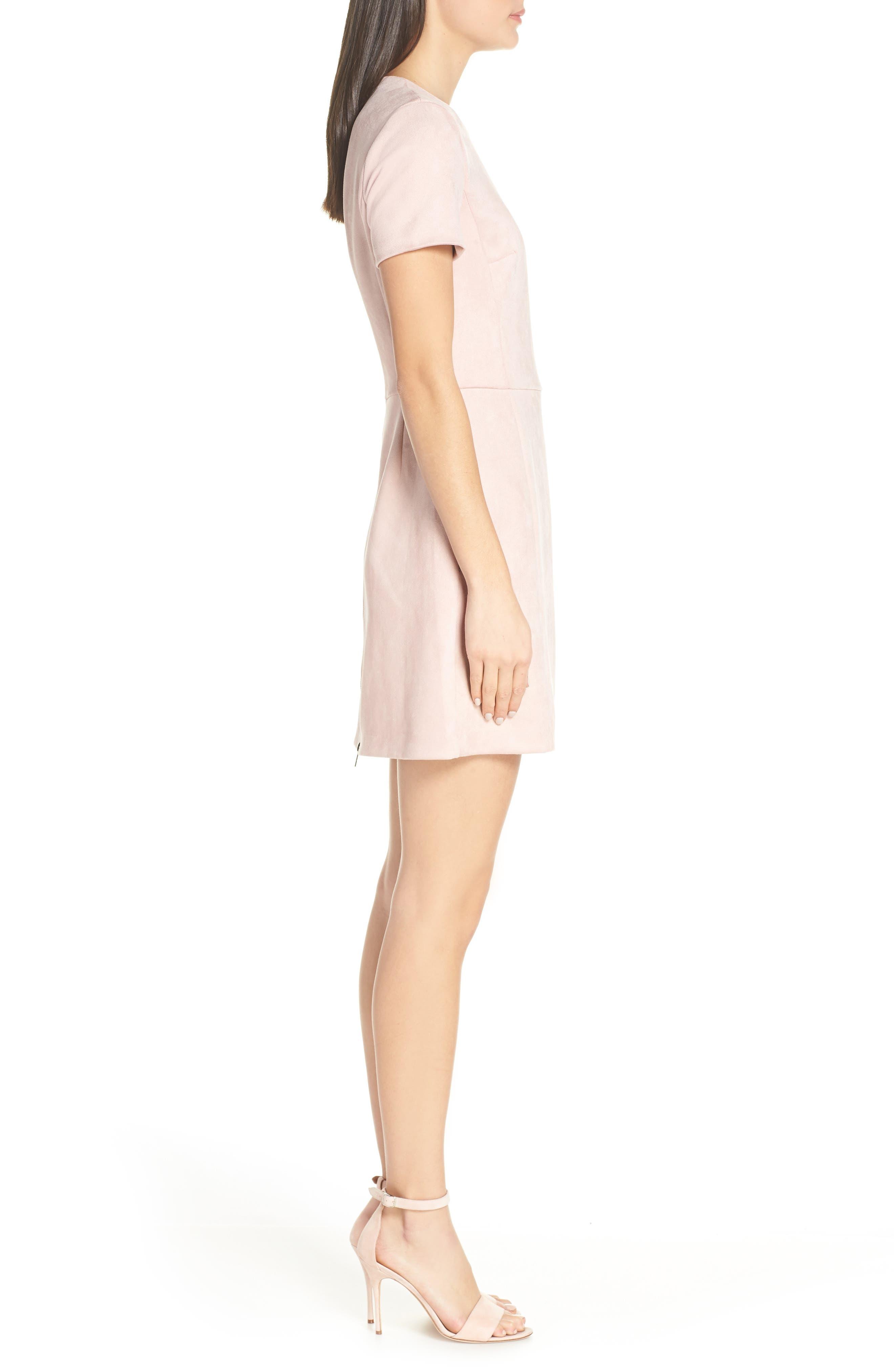 Short Sleeve Faux Suede Dress,                             Alternate thumbnail 3, color,                             TEAGOWN