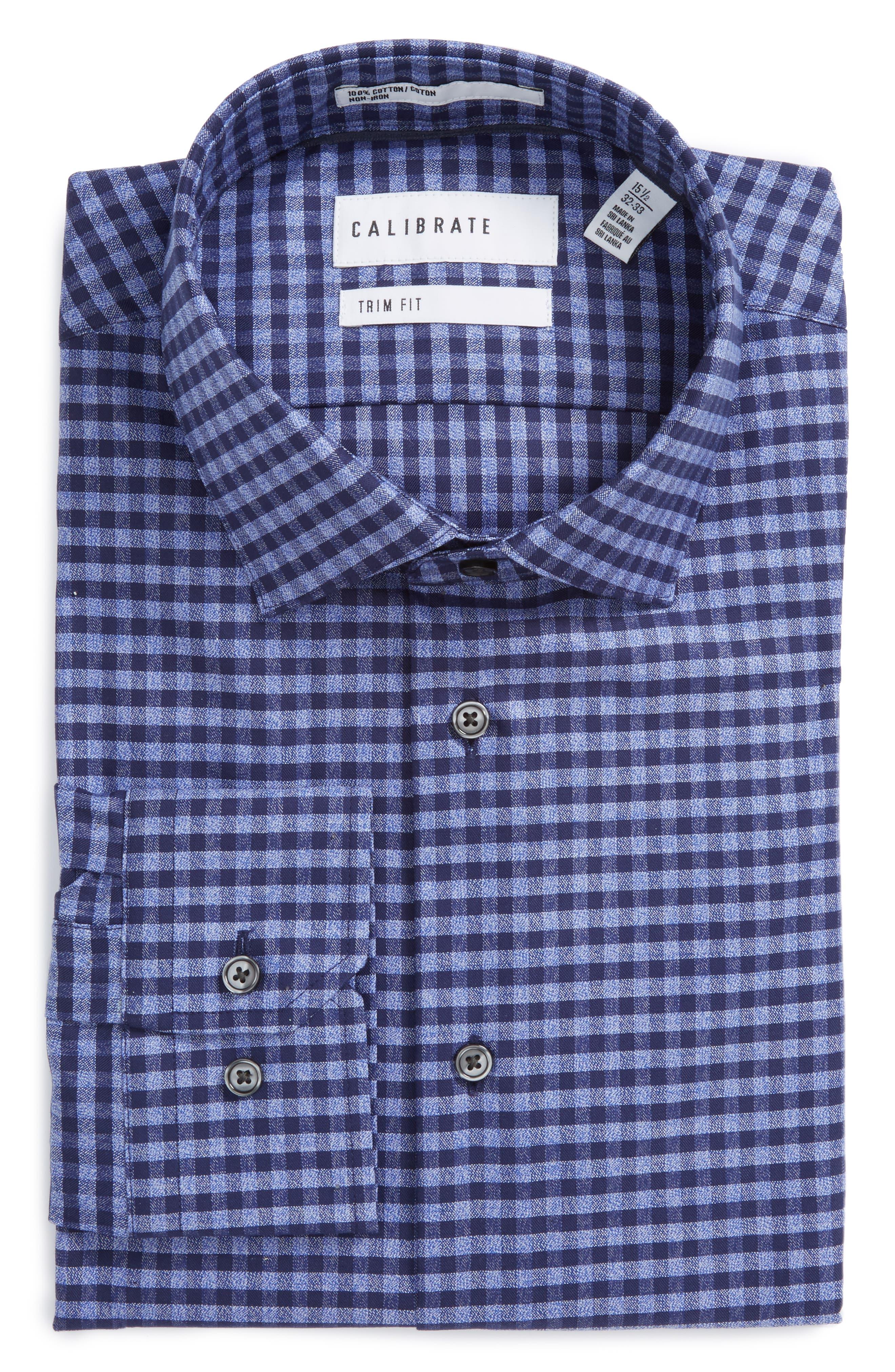 Trim Fit Non-Iron Check Dress Shirt,                             Alternate thumbnail 3, color,                             420
