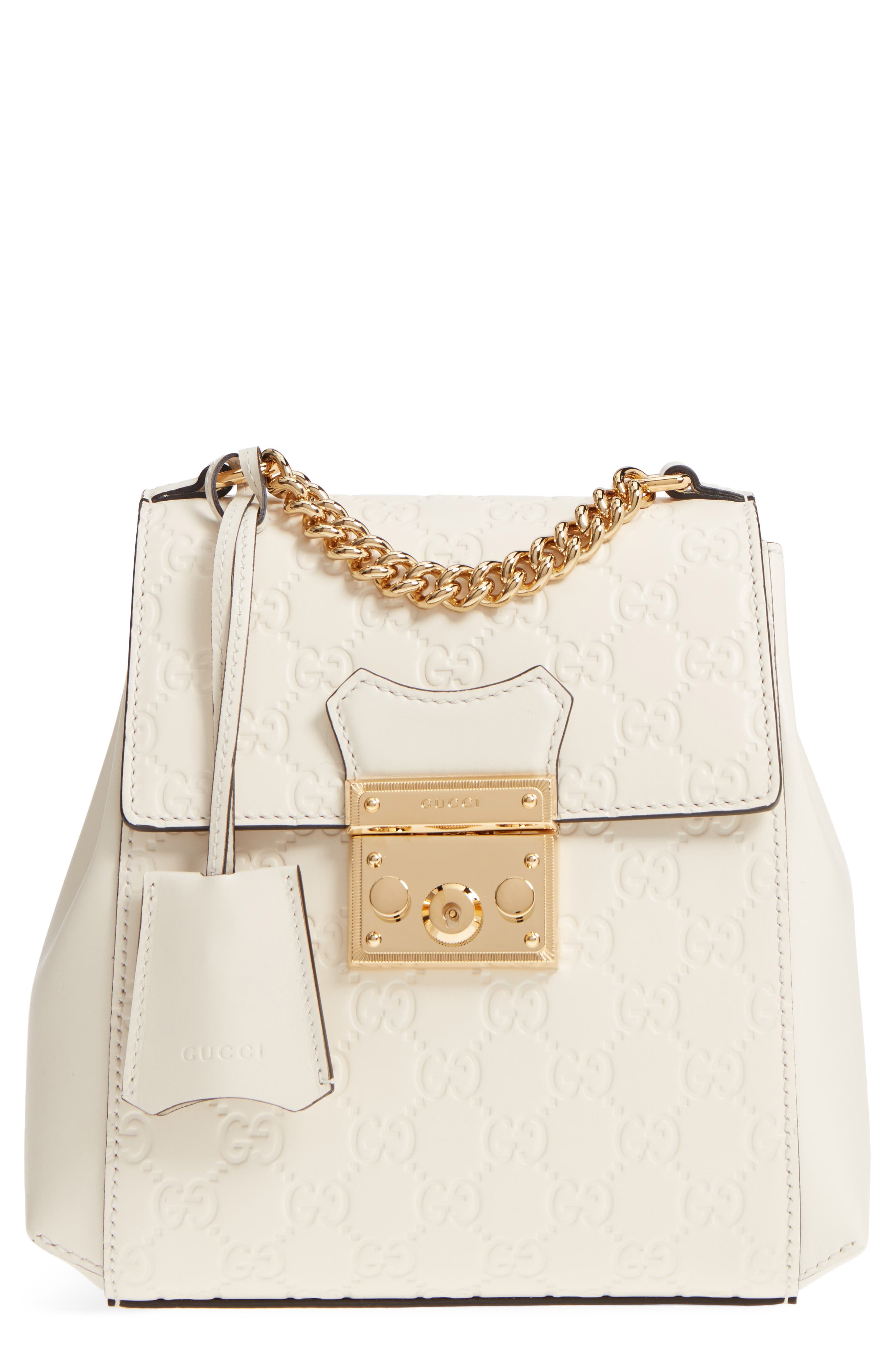 GG Supreme Leather Padlock Backpack,                         Main,                         color, MYSTIC WHITE/ MYSTIC WHITE