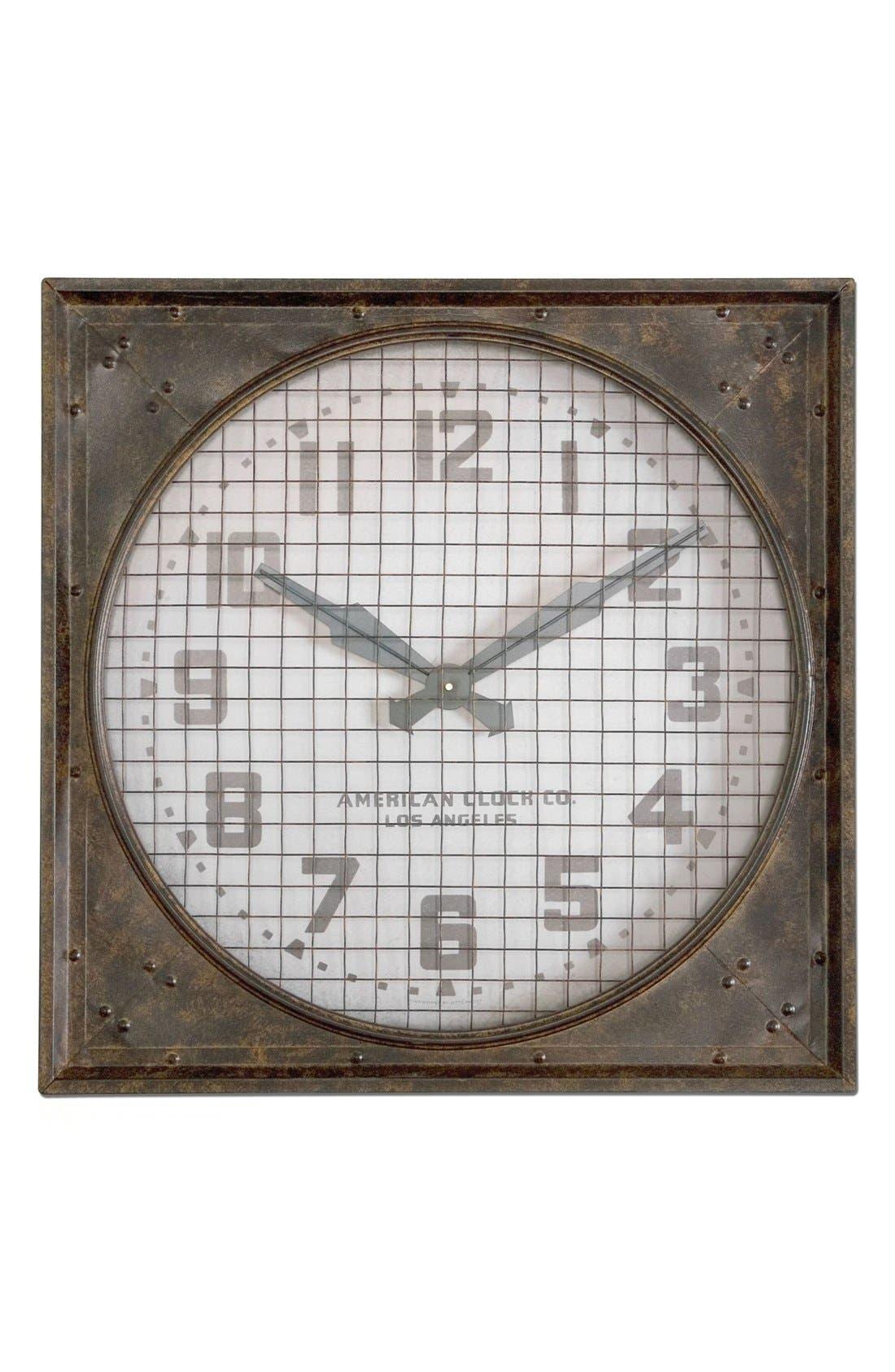 'Warehouse' Wall Clock with Grill,                             Main thumbnail 1, color,                             100