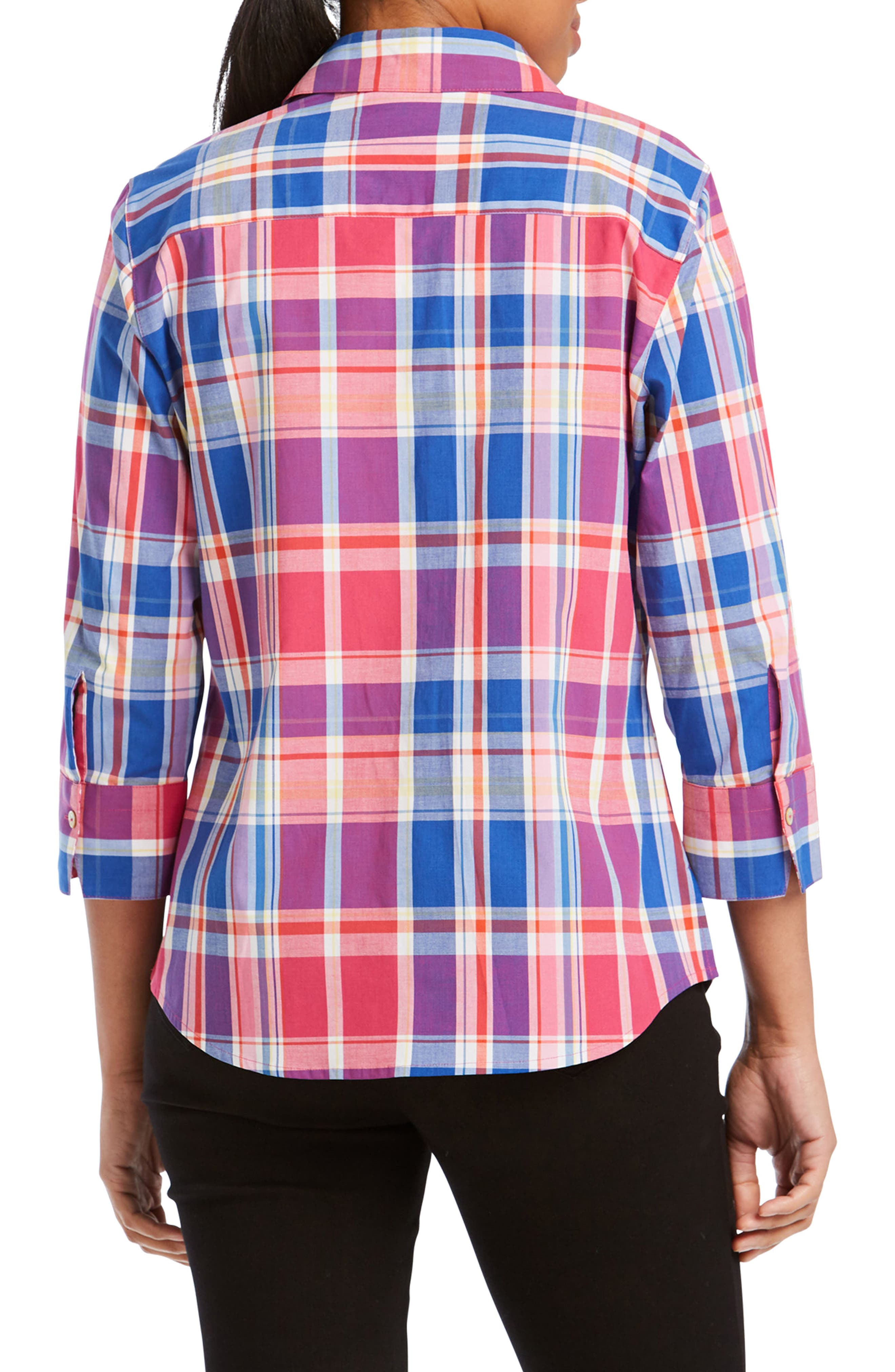 Mary Madras Plaid Shirt,                             Alternate thumbnail 2, color,                             MULTI PLAID