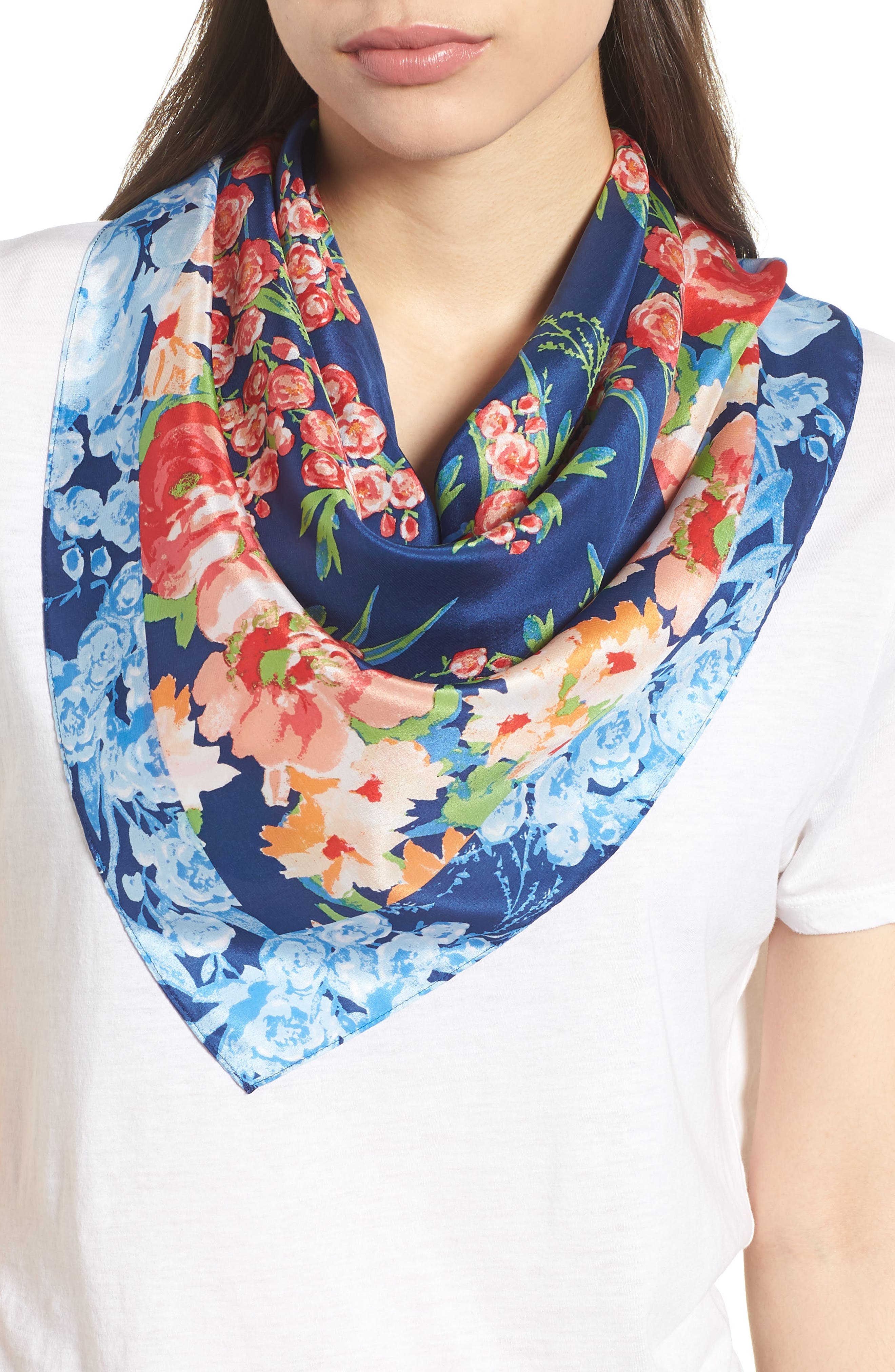 Airlie Beach Floral Silk Square Scarf,                             Main thumbnail 1, color,                             NAVY