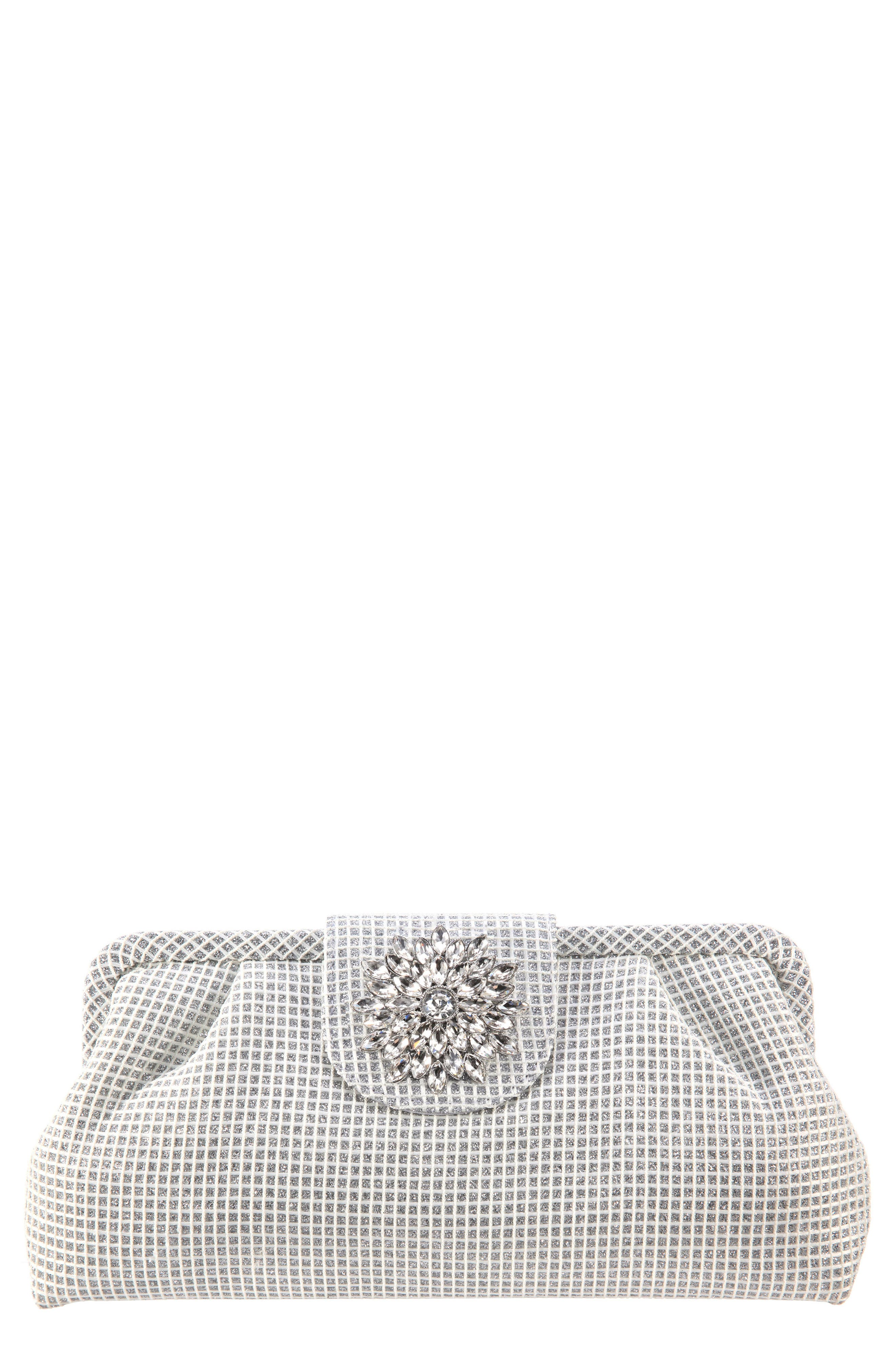 NINA,                             Hampton Embellished Frame Clutch,                             Main thumbnail 1, color,                             SILVER