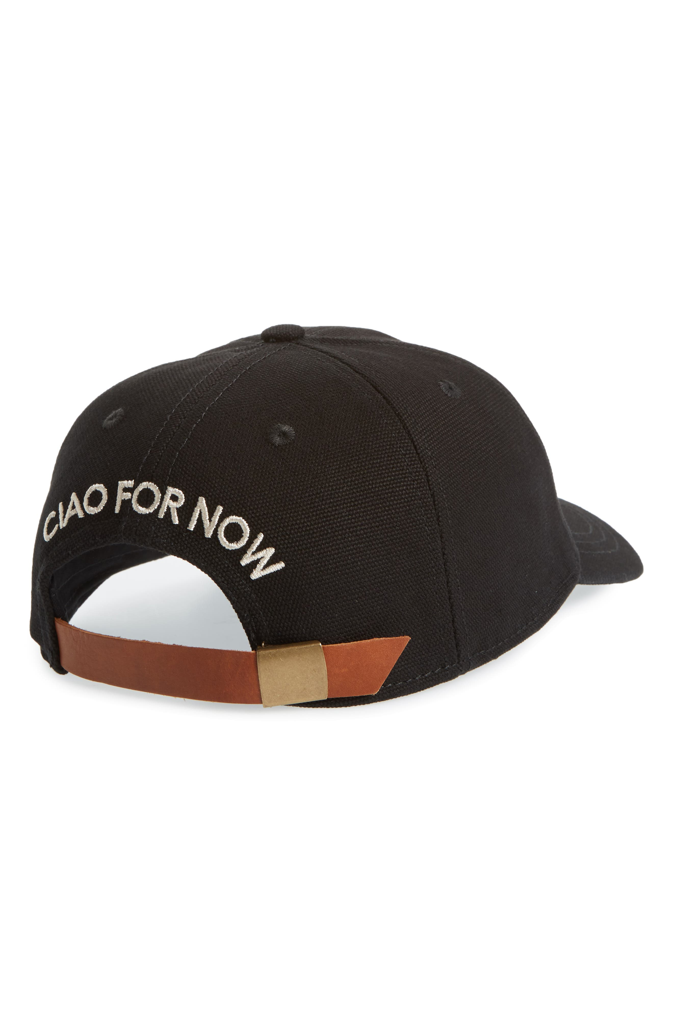 Embroidered Ciao for Now Canvas Baseball Cap,                             Alternate thumbnail 2, color,                             001