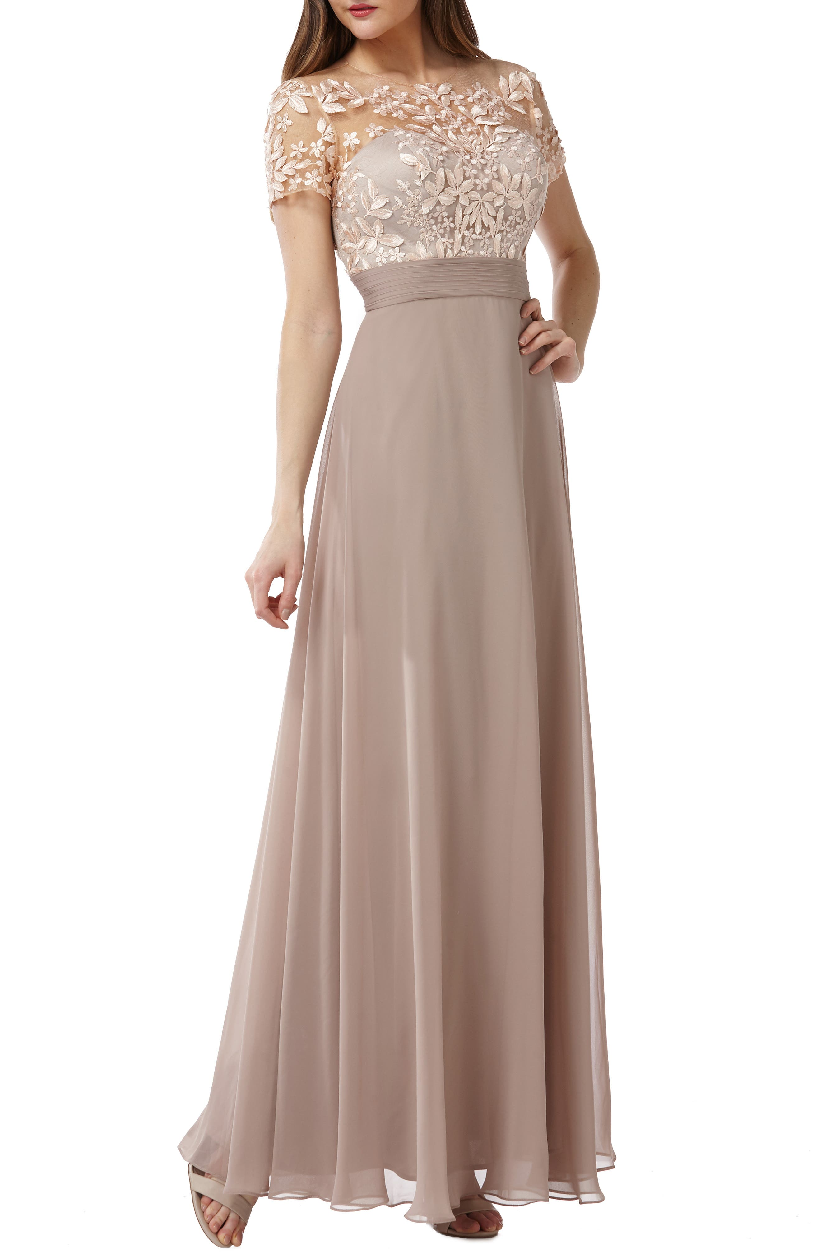 Js Collections Embroidered Illusion Bodice Gown, Beige