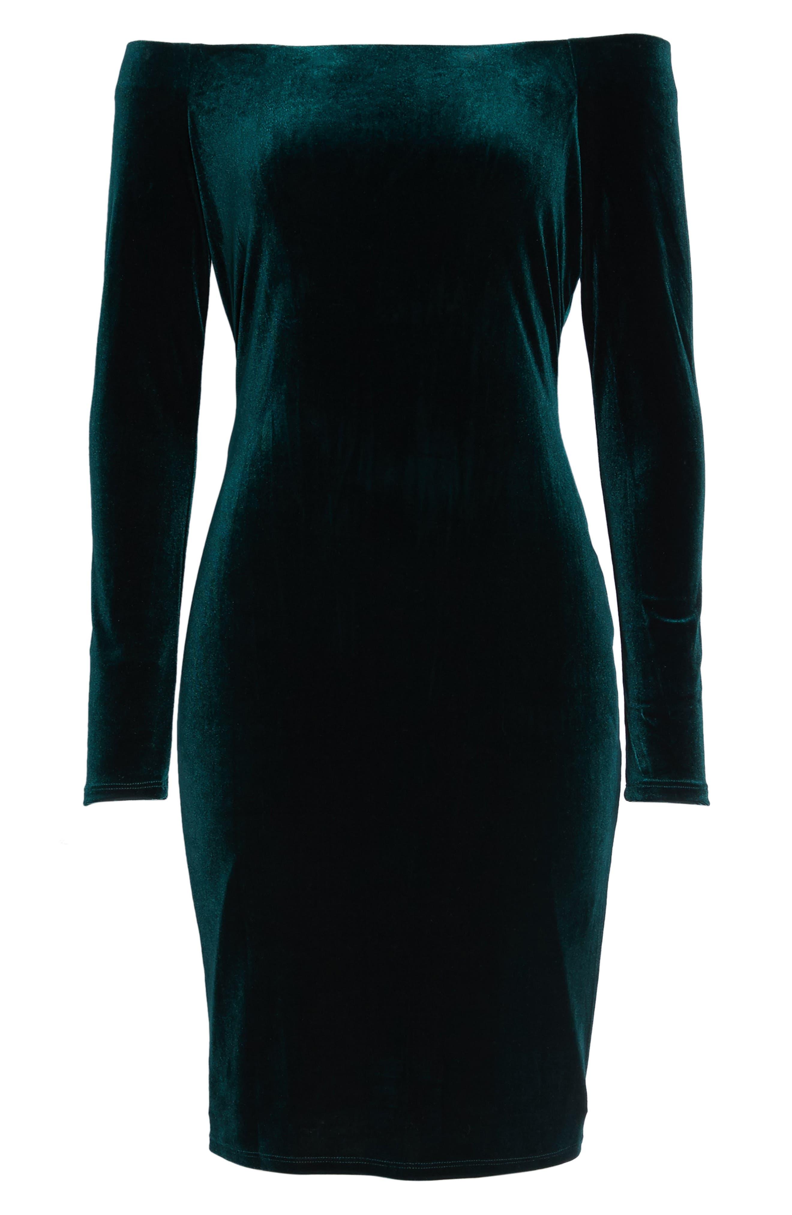 Off the Shoulder Velvet Sheath Dress,                             Alternate thumbnail 6, color,                             310