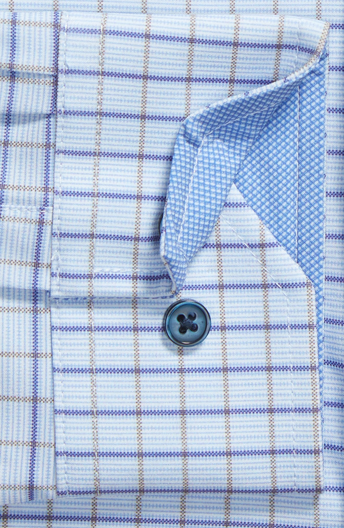 Trim Fit Check 4-Way Stretch Dress Shirt,                             Alternate thumbnail 6, color,                             BLUE