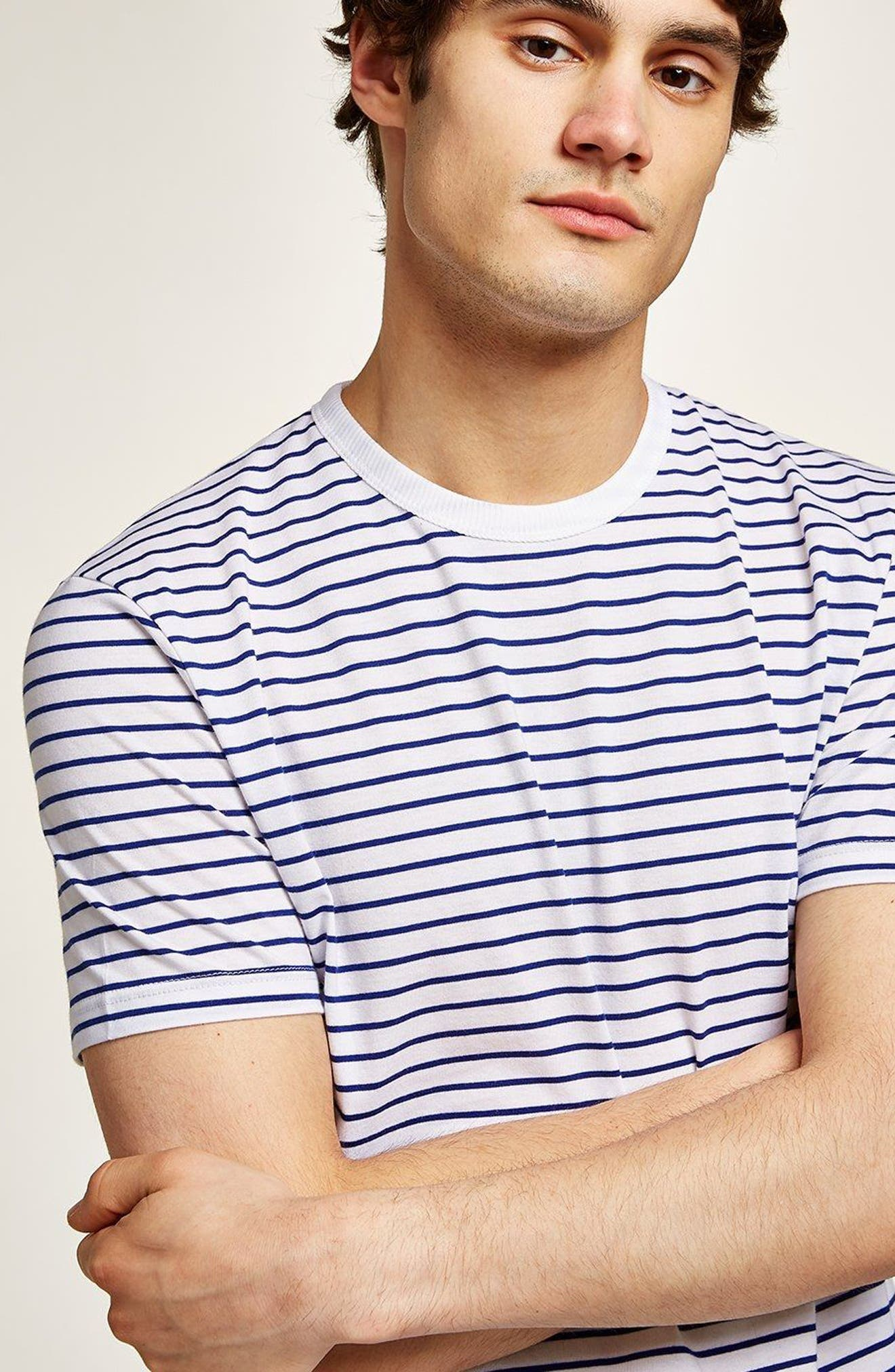 Slim Fit Stripe T-Shirt,                             Alternate thumbnail 4, color,                             DARK BLUE MULTI