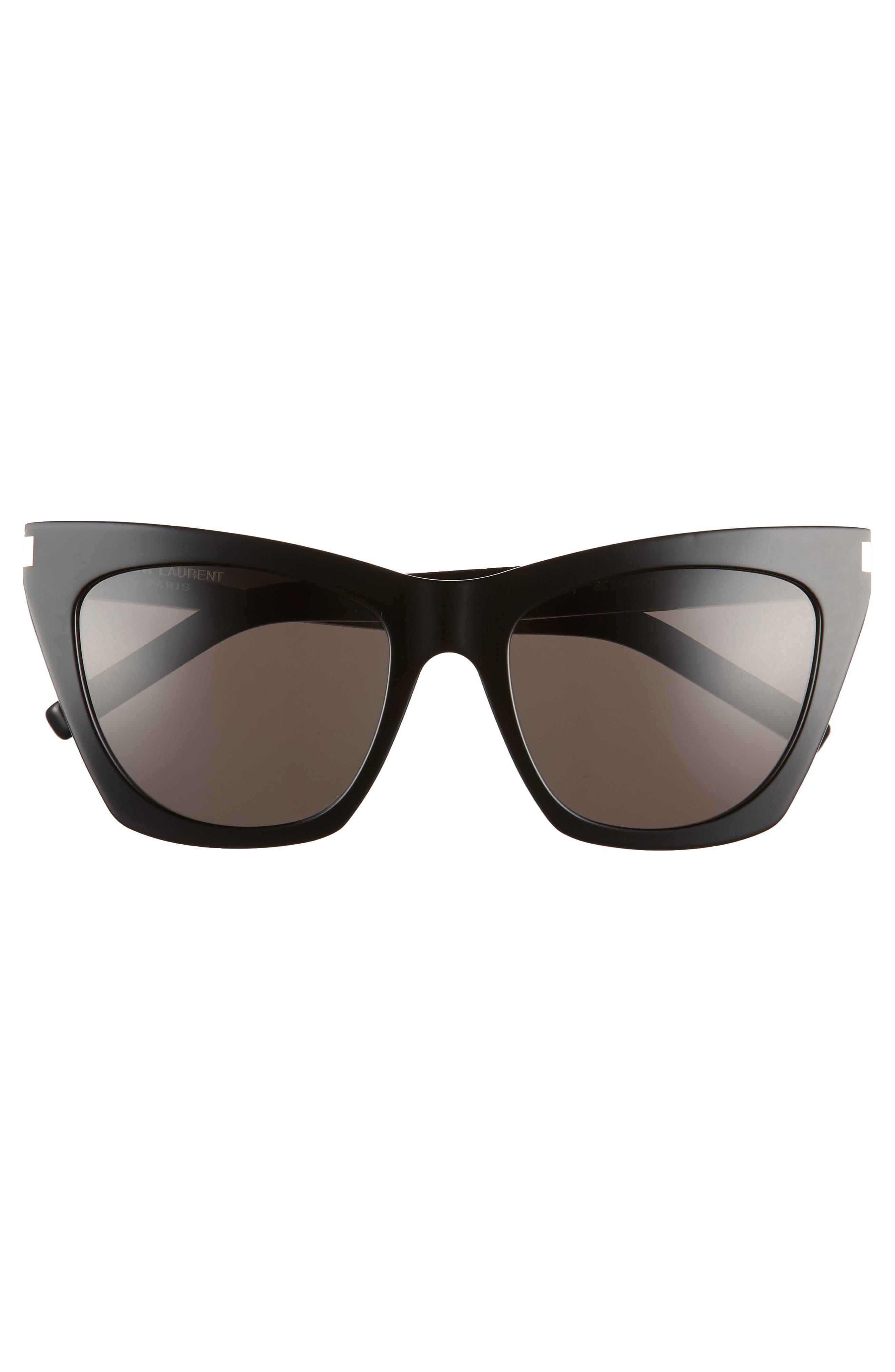 Kate 55mm Cat Eye Sunglasses,                             Alternate thumbnail 3, color,                             BLACK