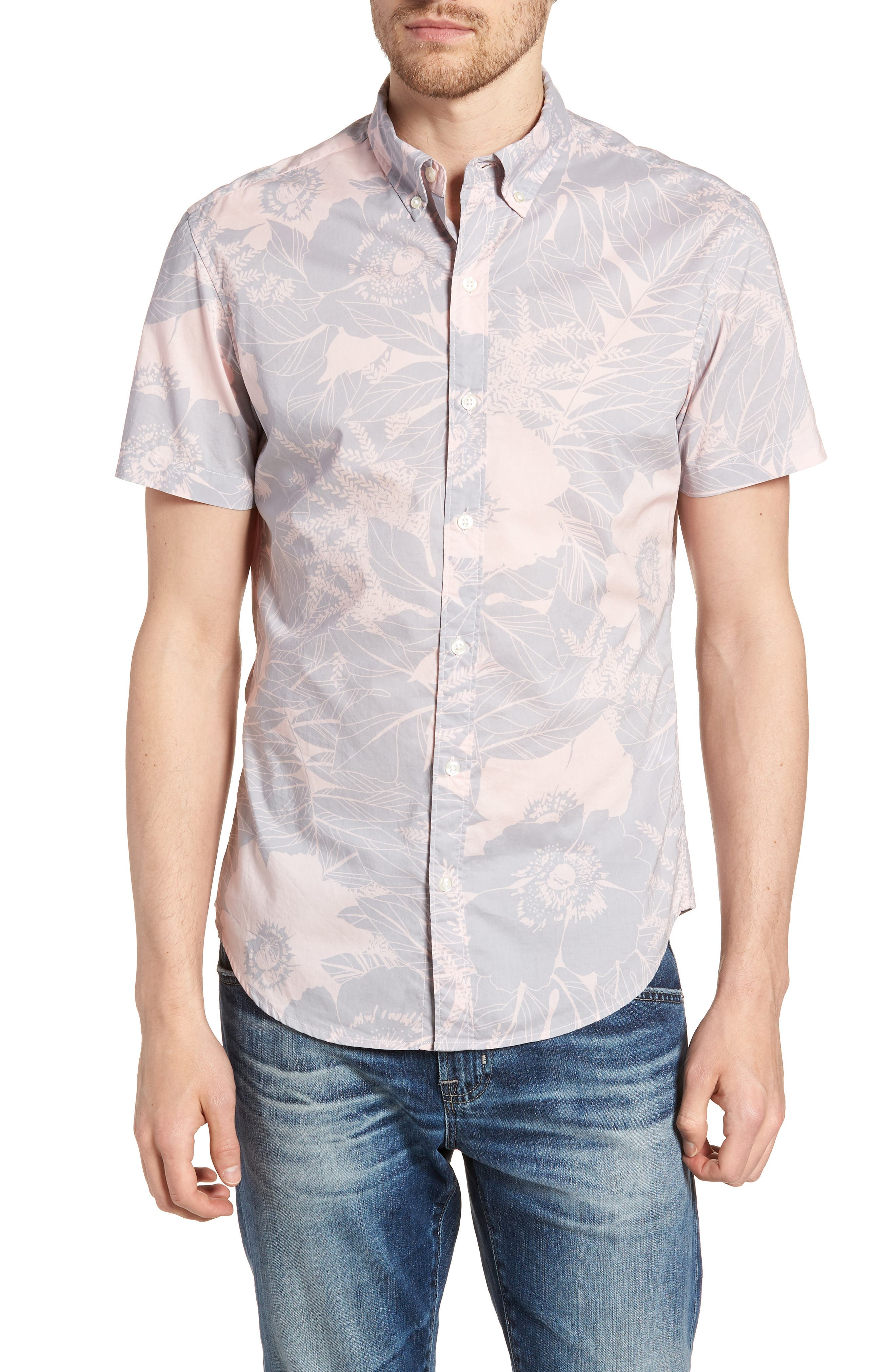 Riviera Slim Fit Floral Print Sport Shirt,                             Main thumbnail 1, color,                             LINEAR FLORAL - SKIVVY PINK