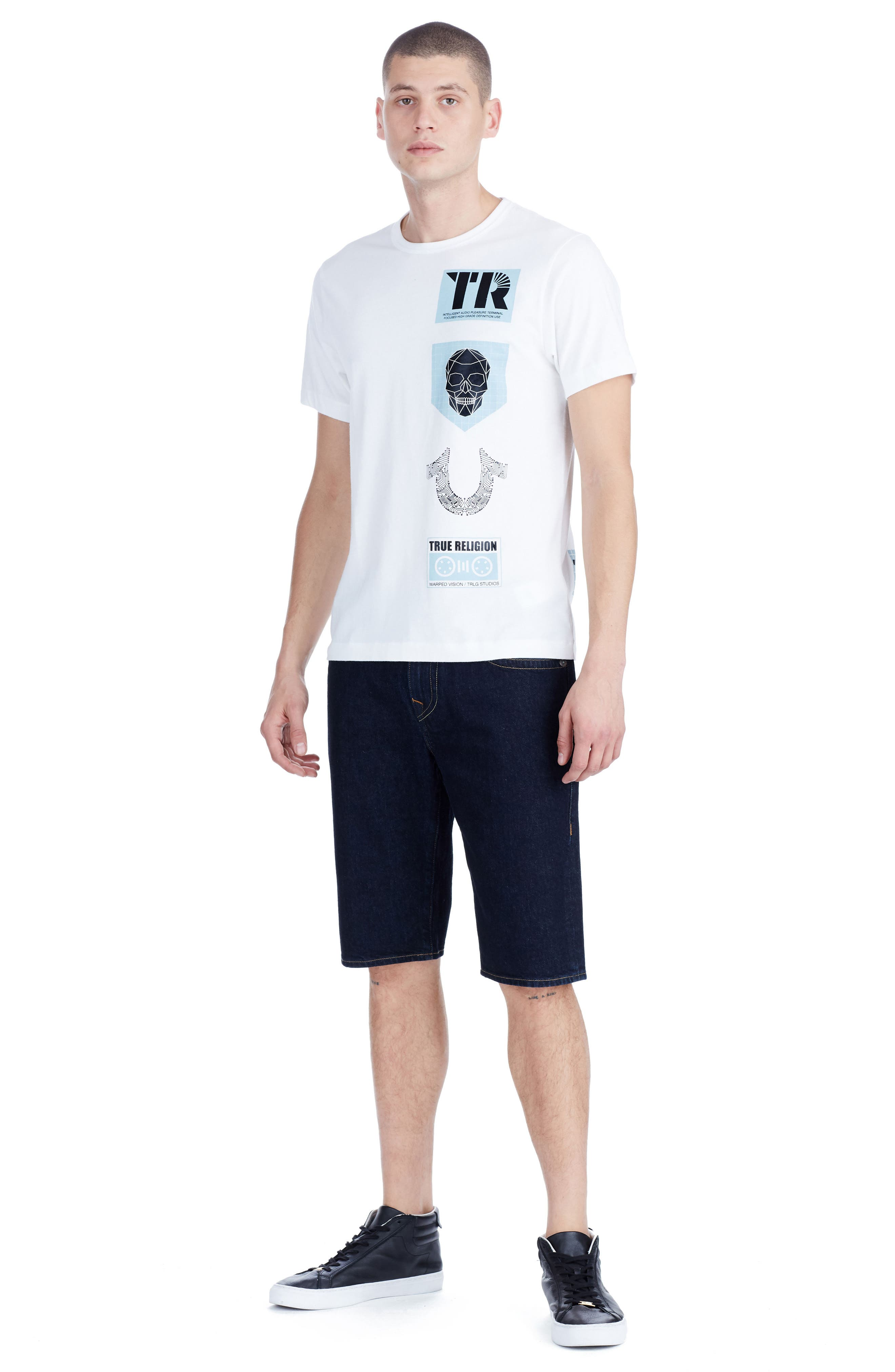 TRUE RELIGION BRAND JEANS,                             Warped Vision T-Shirt,                             Alternate thumbnail 3, color,                             100