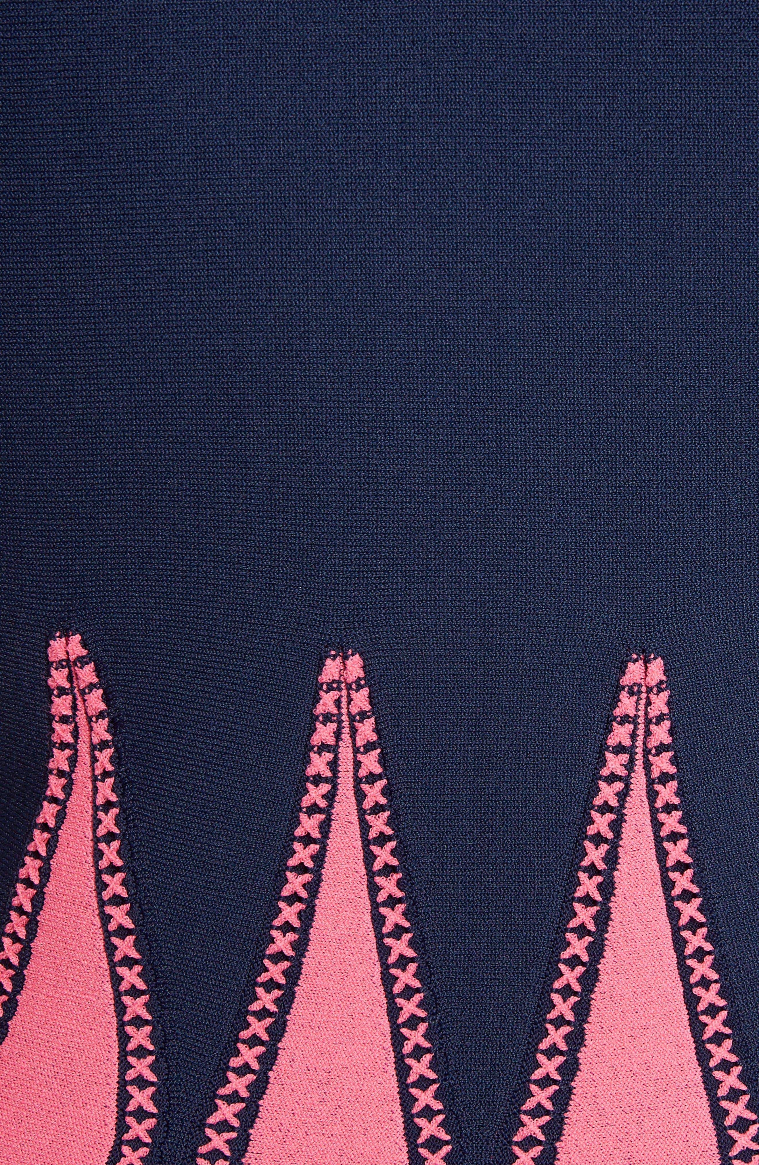 Corset Stitch Fit & Flare Dress,                             Alternate thumbnail 5, color,                             409