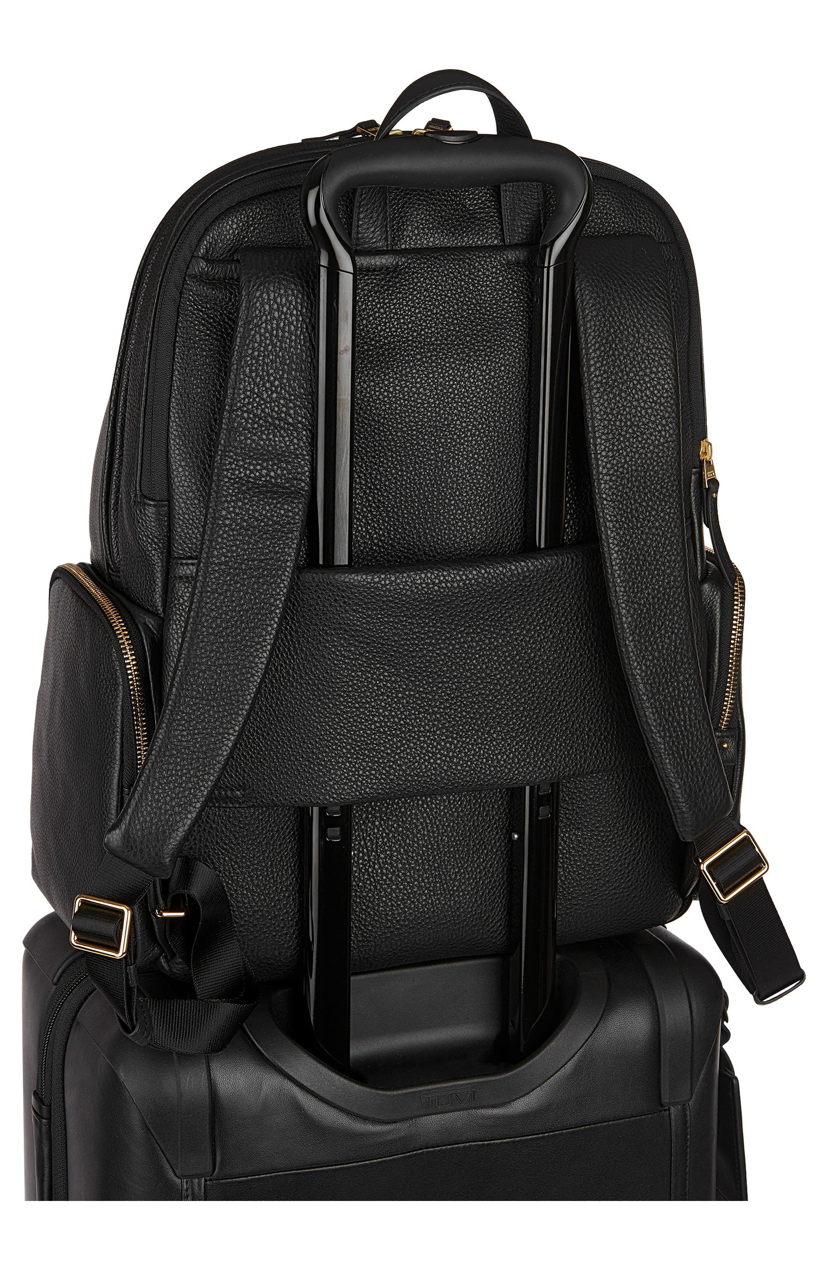 Calais Leather Computer Backpack,                             Alternate thumbnail 4, color,                             001