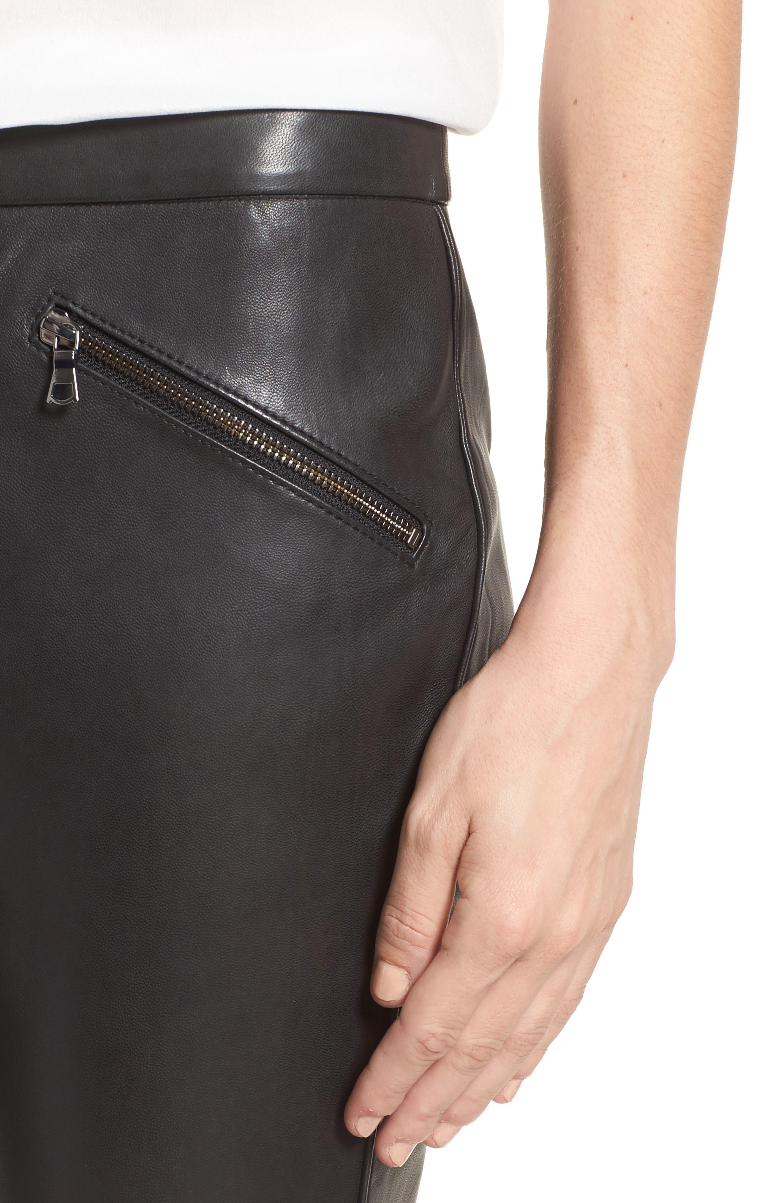 Crop Flare Leather Pants,                             Alternate thumbnail 4, color,                             001