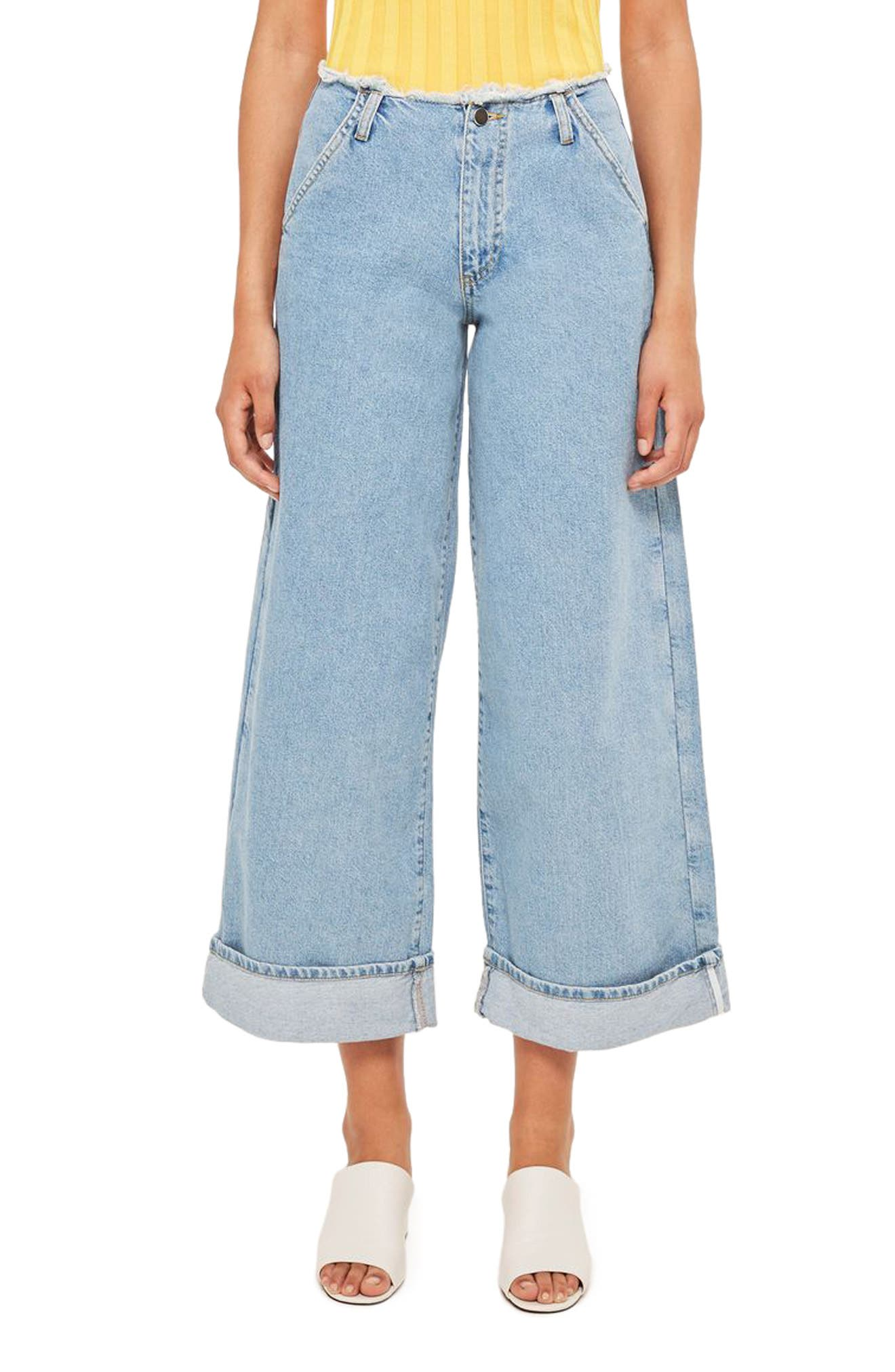 Frayed Waist Super Wide Leg Jeans,                         Main,                         color, 400