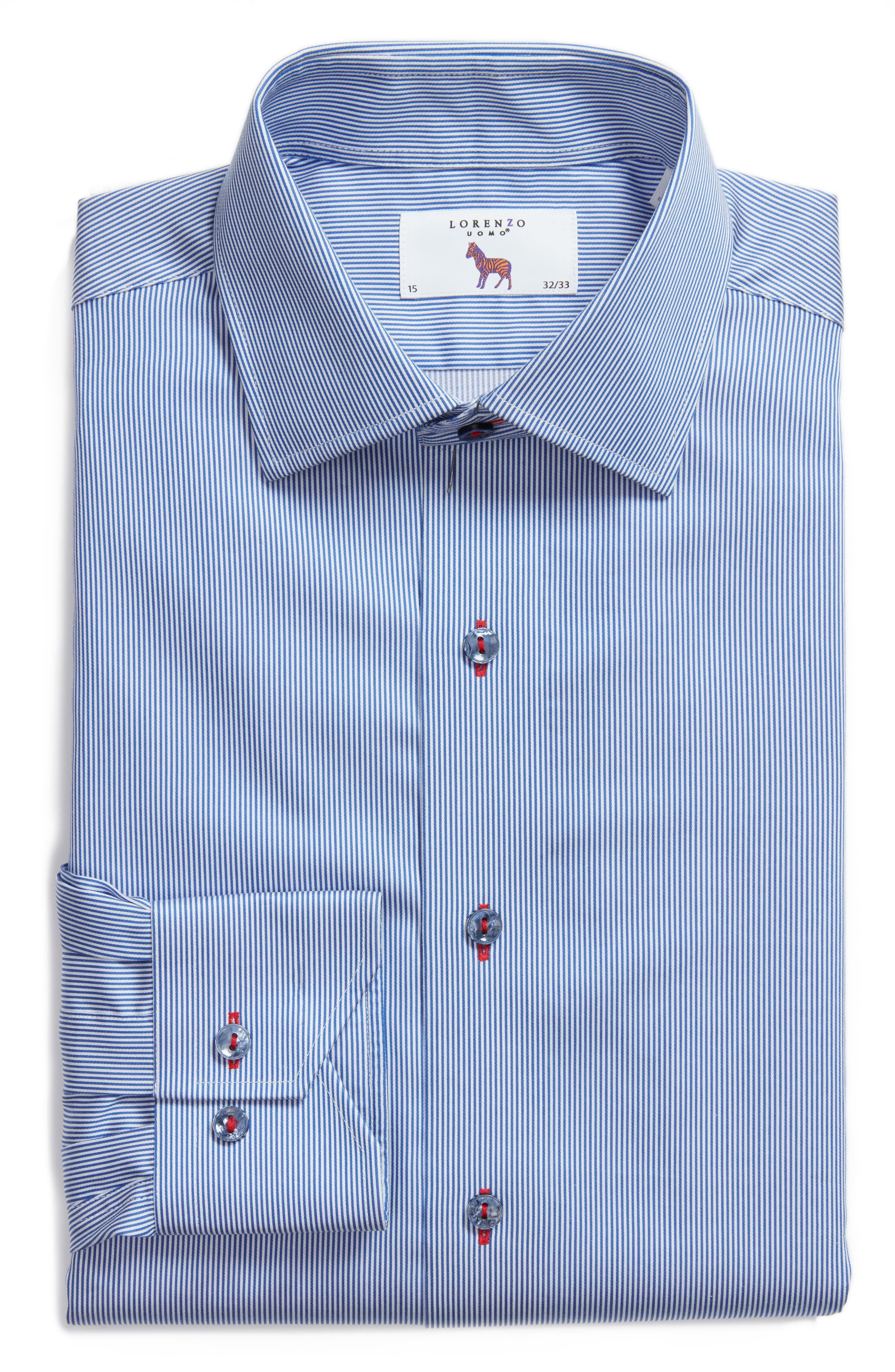 Trim Fit Textured Stripe Dress Shirt,                             Alternate thumbnail 5, color,                             NAVY/ WHITE