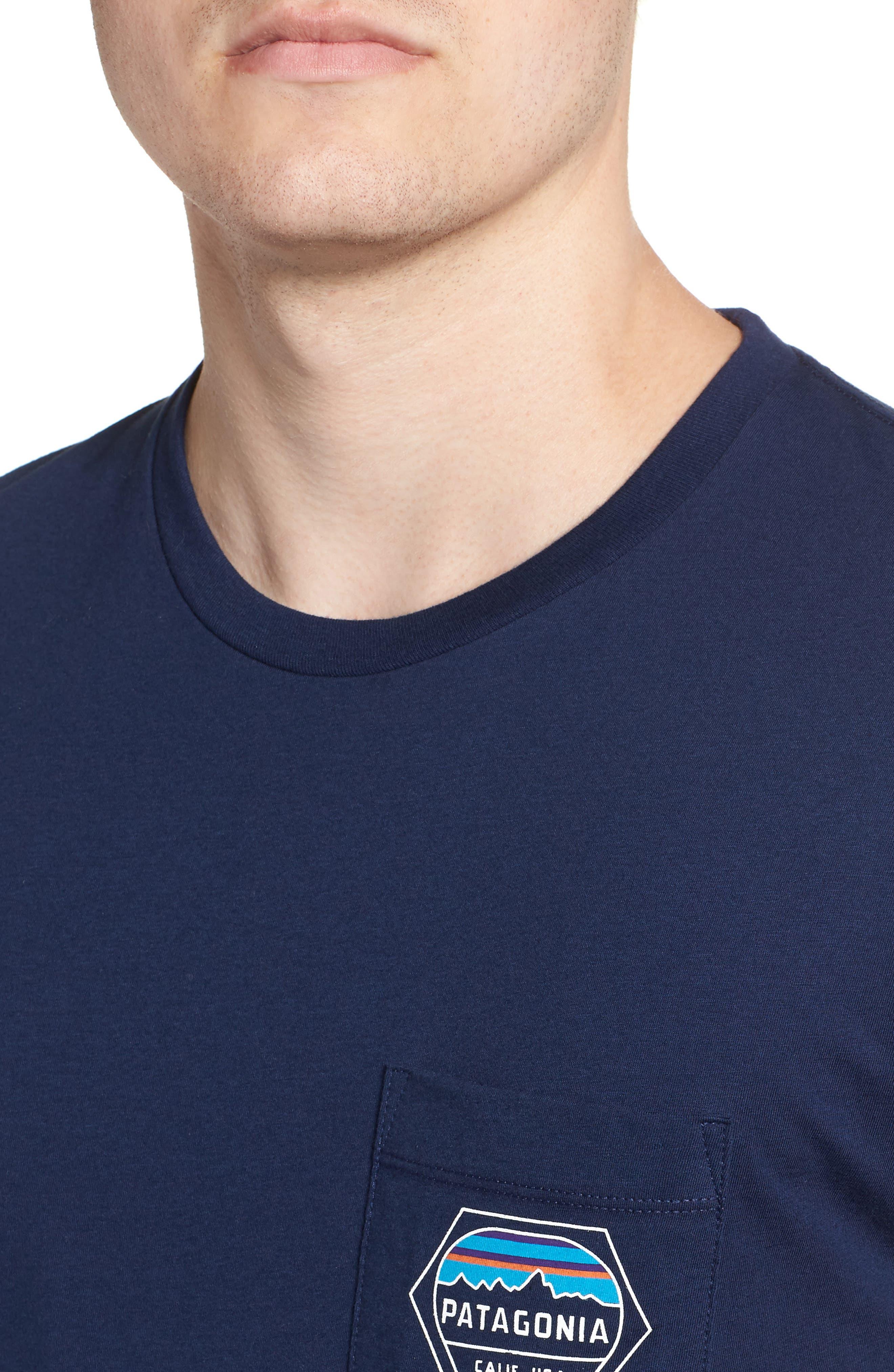 Fitz Roy Hex Pocket T-Shirt,                             Alternate thumbnail 4, color,                             CLASSIC NAVY