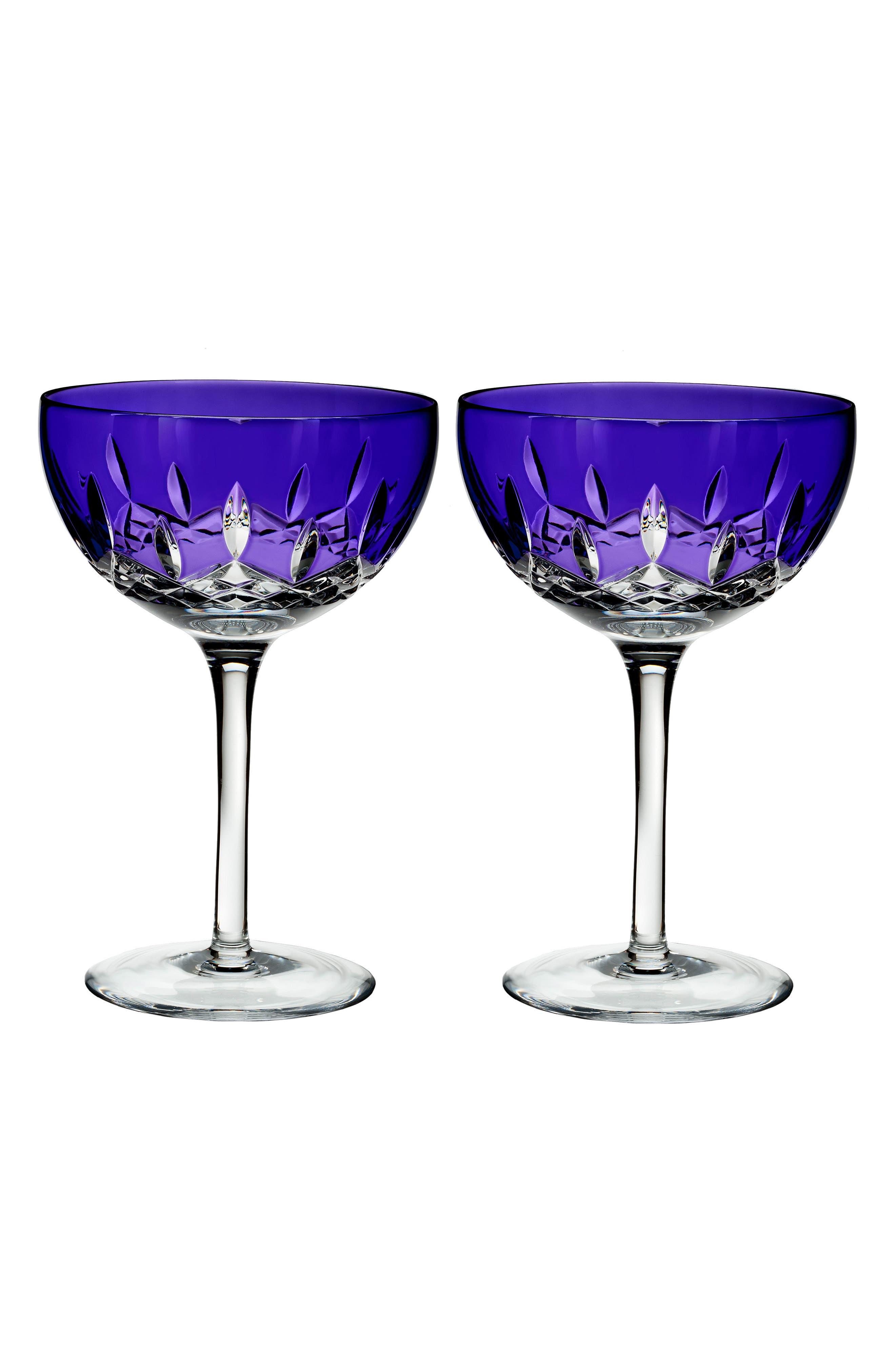 Lismore Pops Set of 2 Purple Lead Crystal Cocktail Glasses,                             Main thumbnail 1, color,                             100