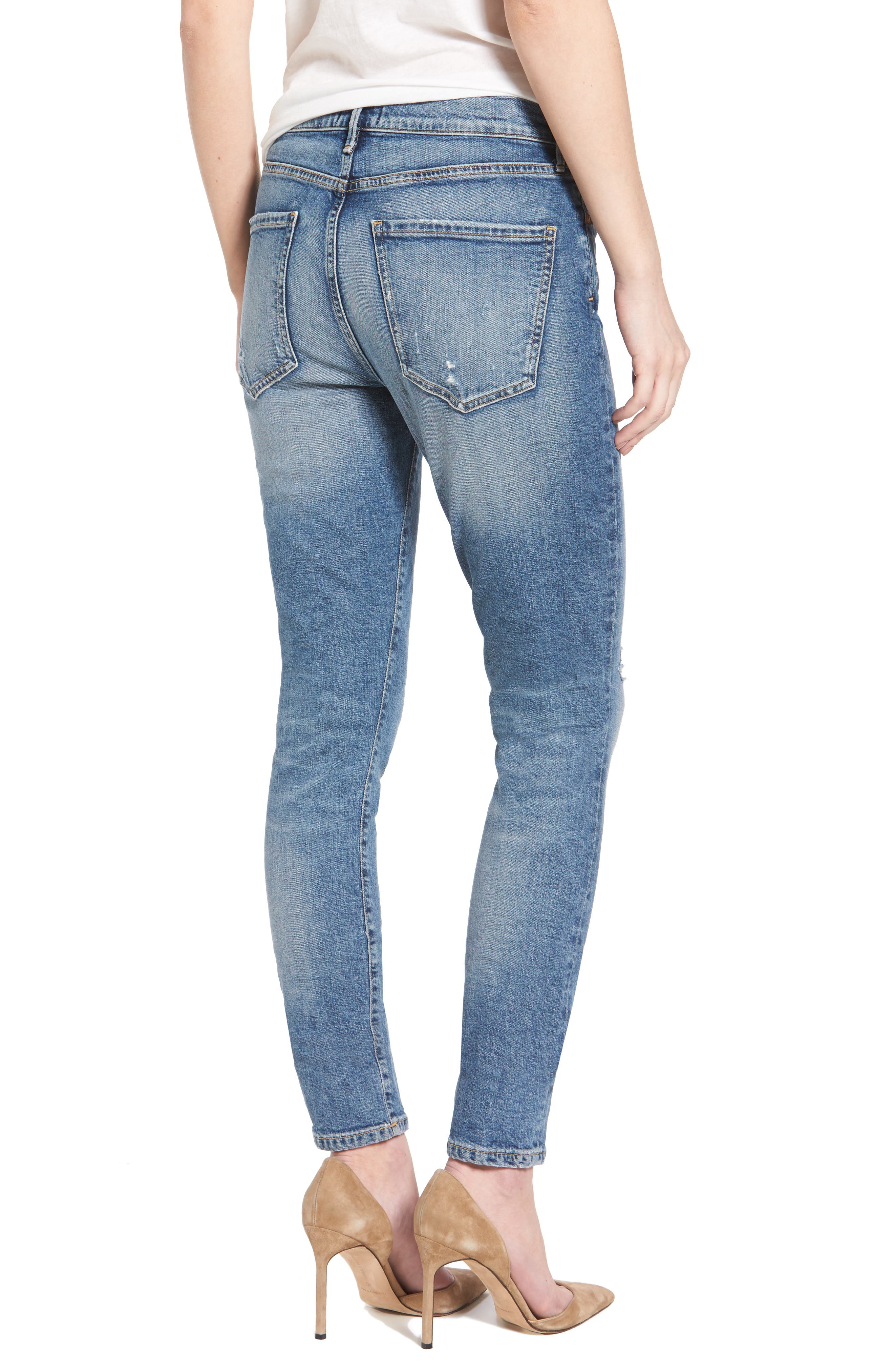 Sophie Distressed High Waist Skinny Jeans,                             Alternate thumbnail 2, color,