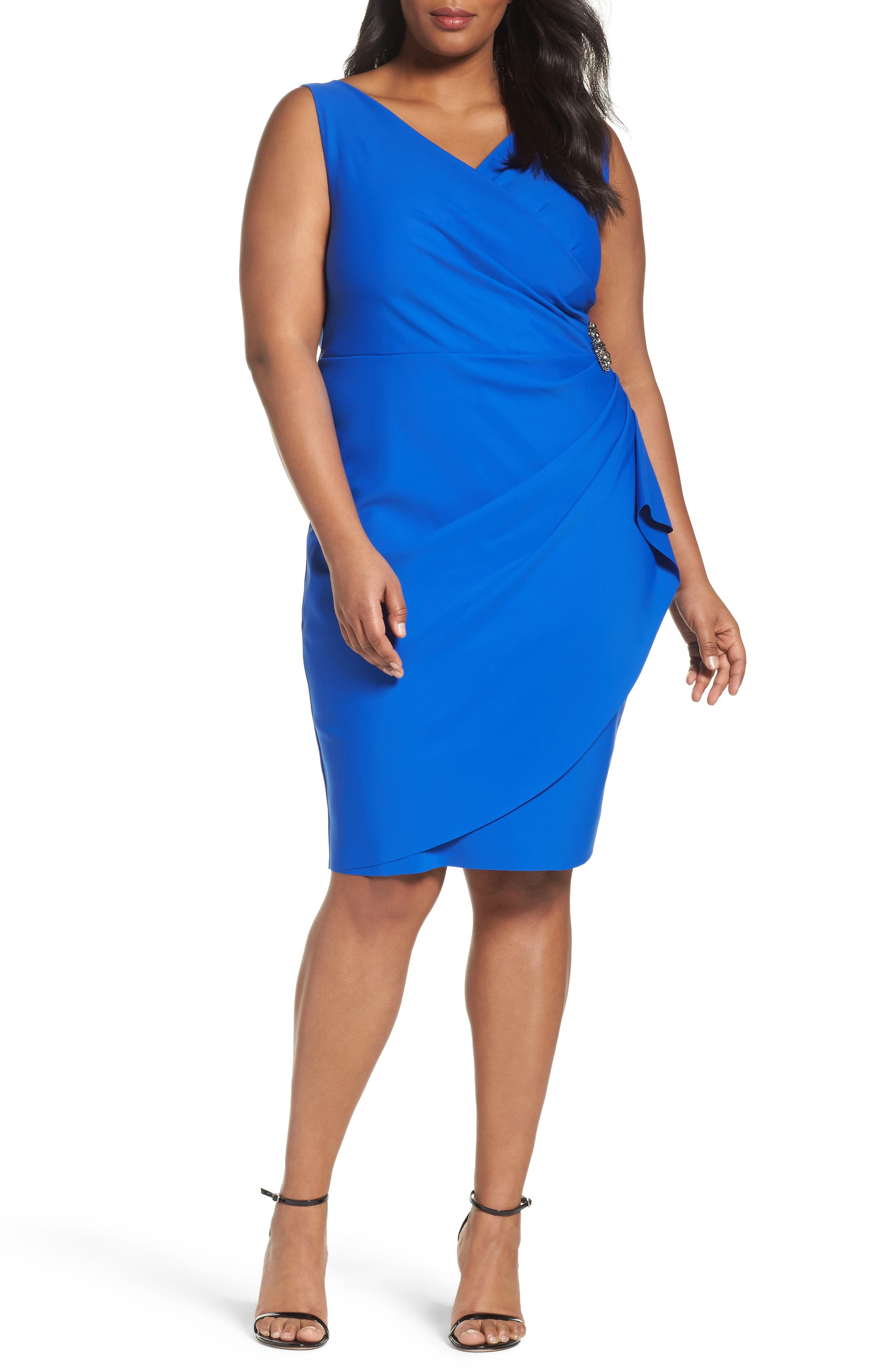 Embellished Surplice Sheath Dress,                             Main thumbnail 4, color,