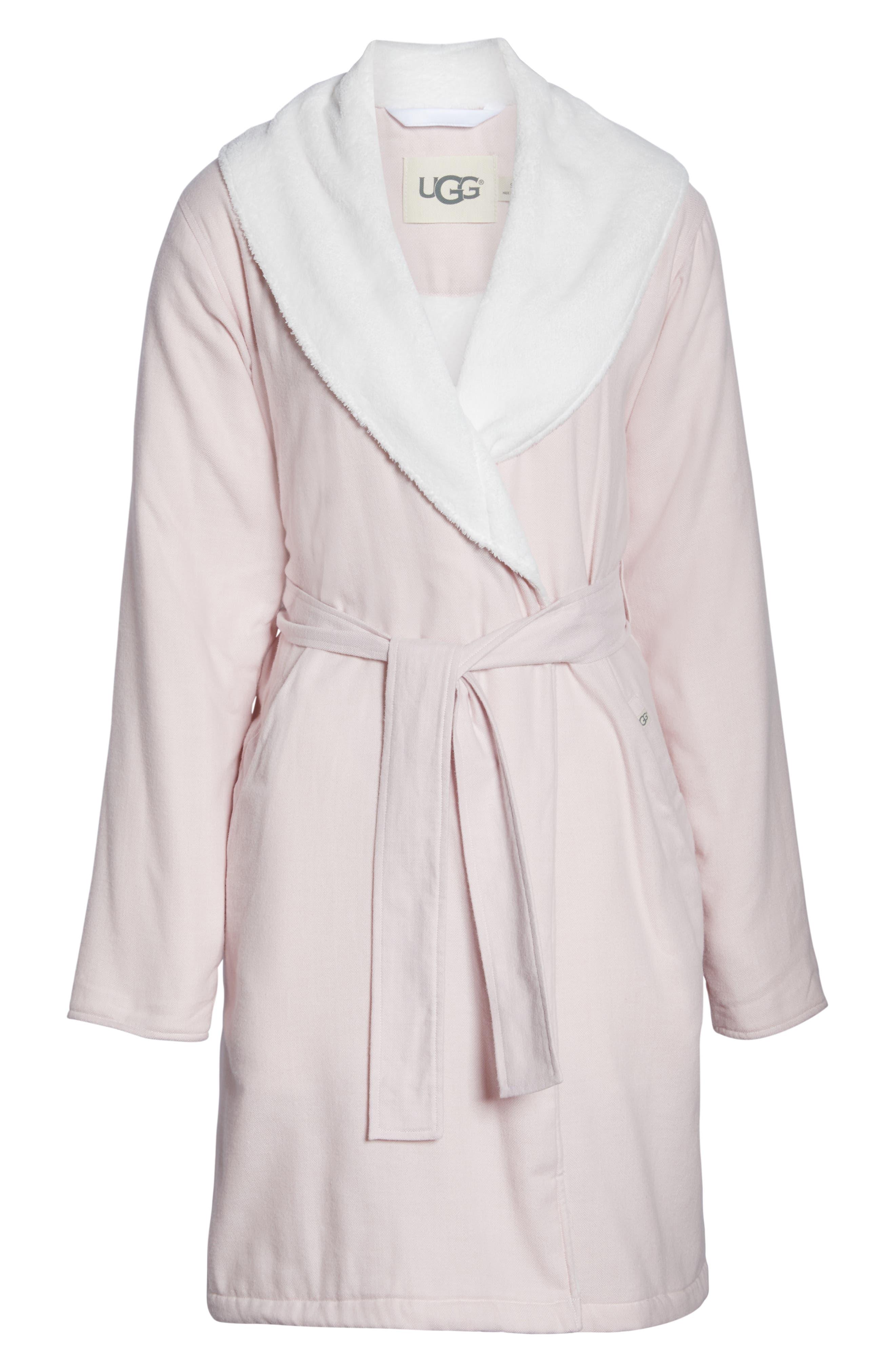 Anika Herringbone Fleece Robe,                             Alternate thumbnail 6, color,                             STARLIGHT