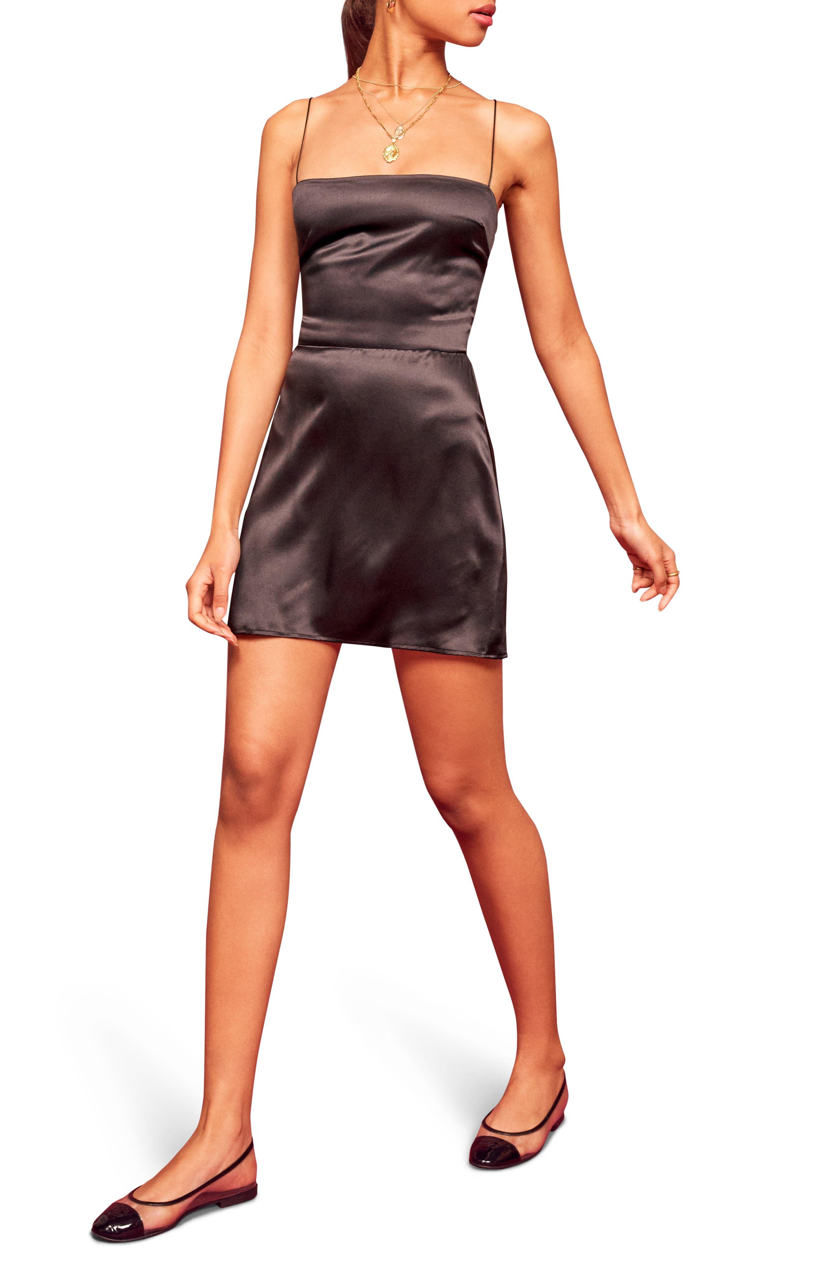 Kosta Silk Minidress, Main, color, BLACK
