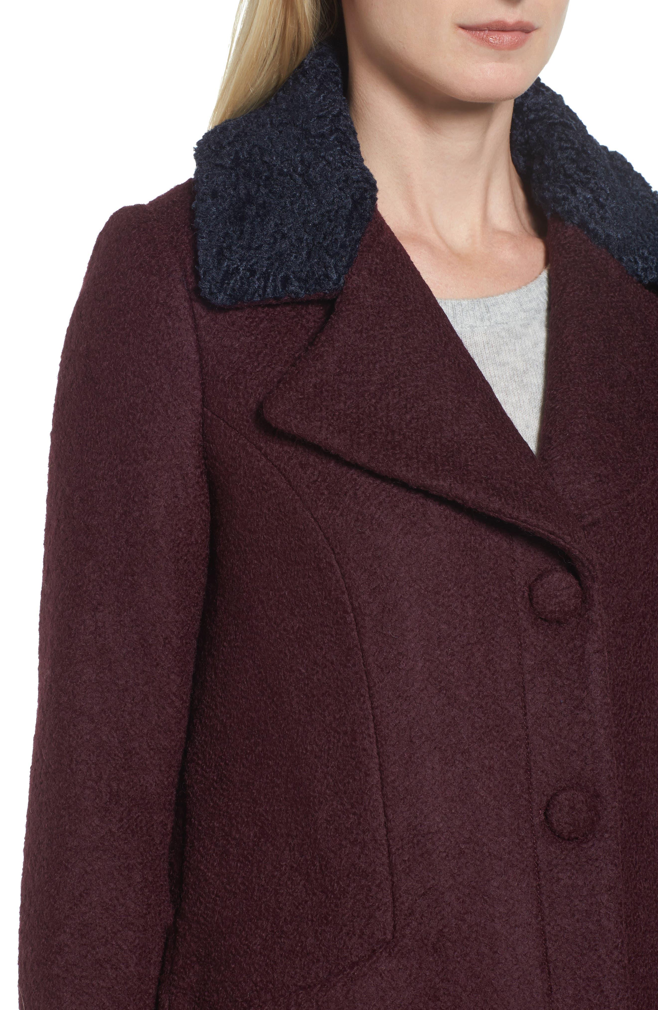 Contrast Collar Bouclé Coat,                             Alternate thumbnail 12, color,